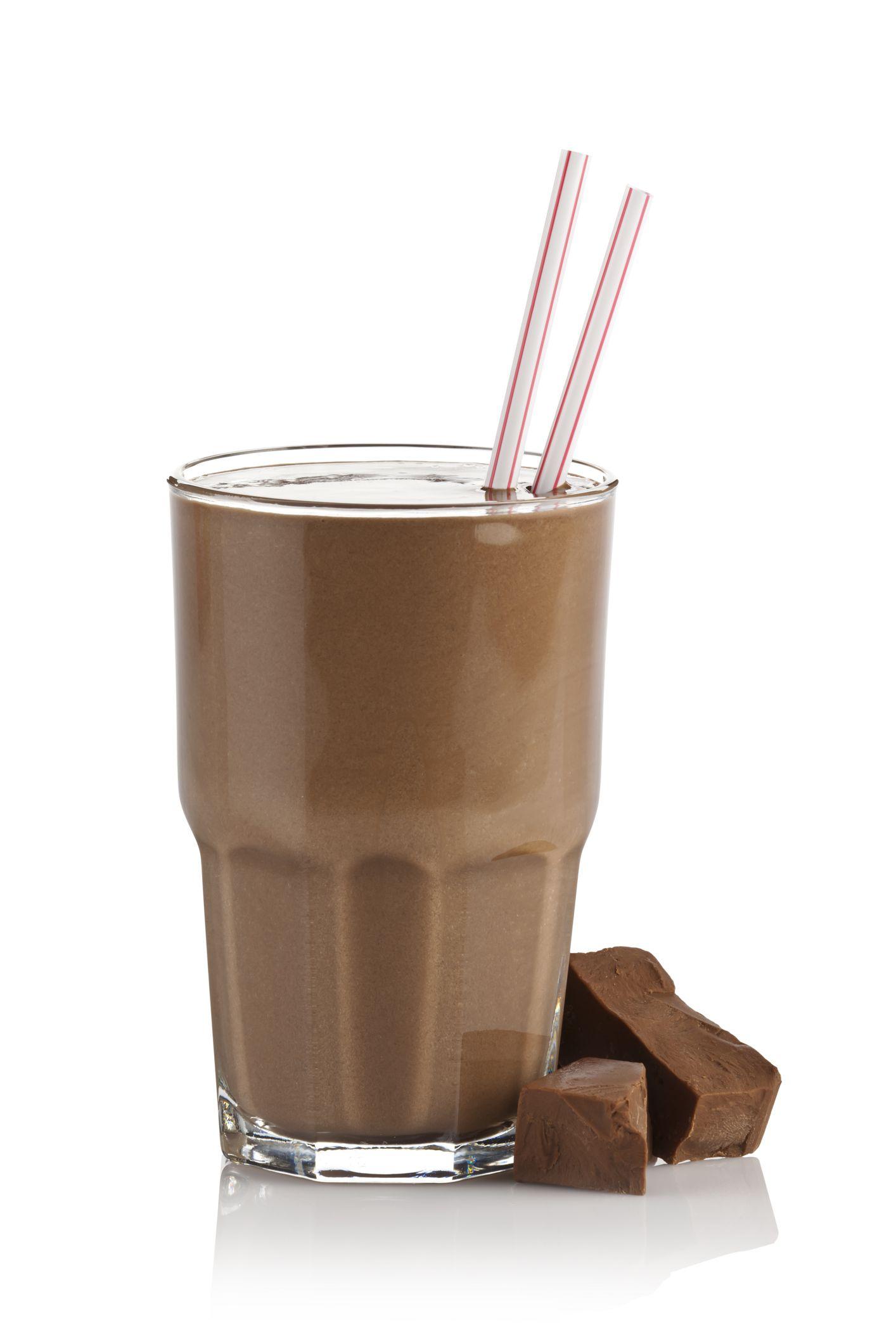Chocolate milk shake smoothie on white background