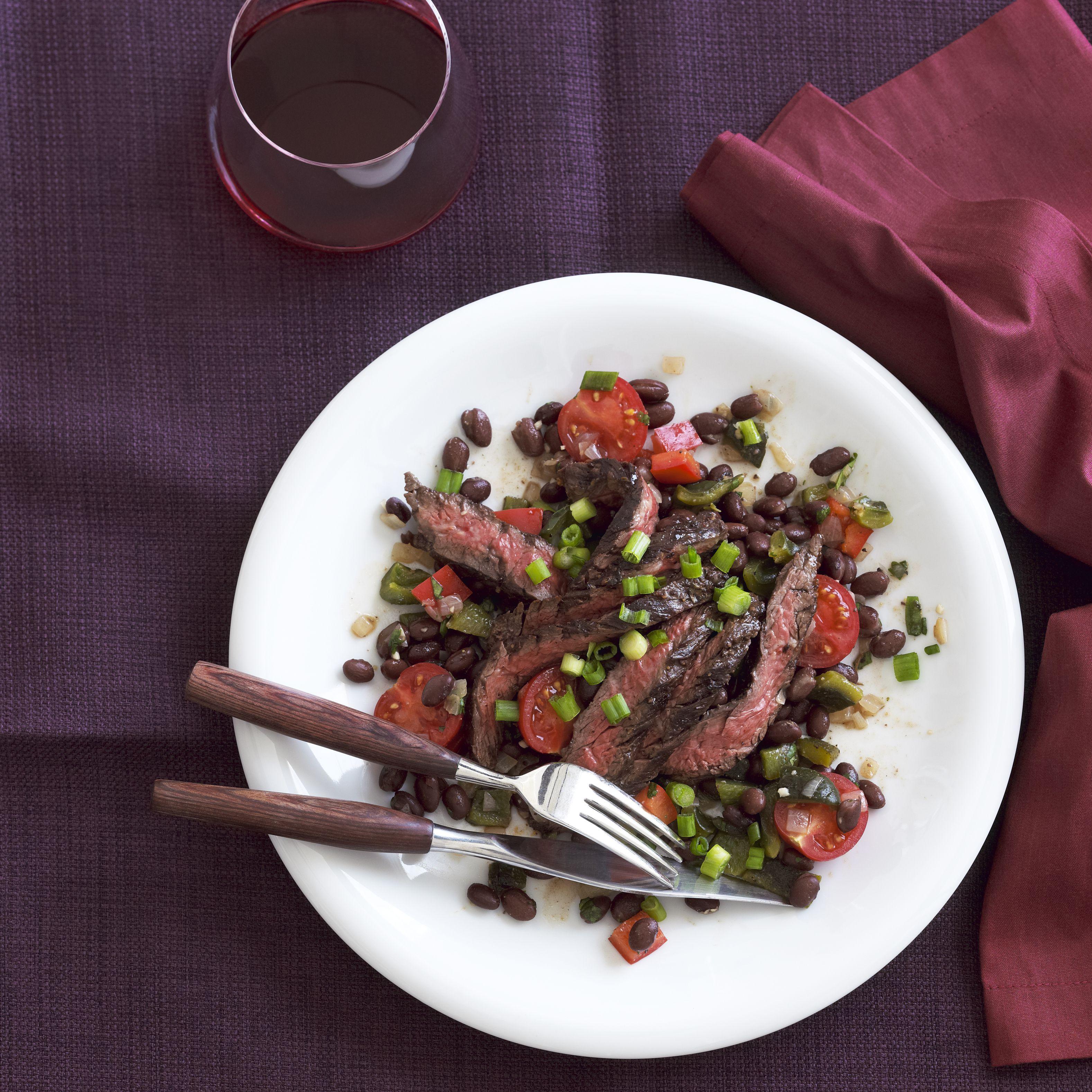 Skirt Steak with Black Bean Salad