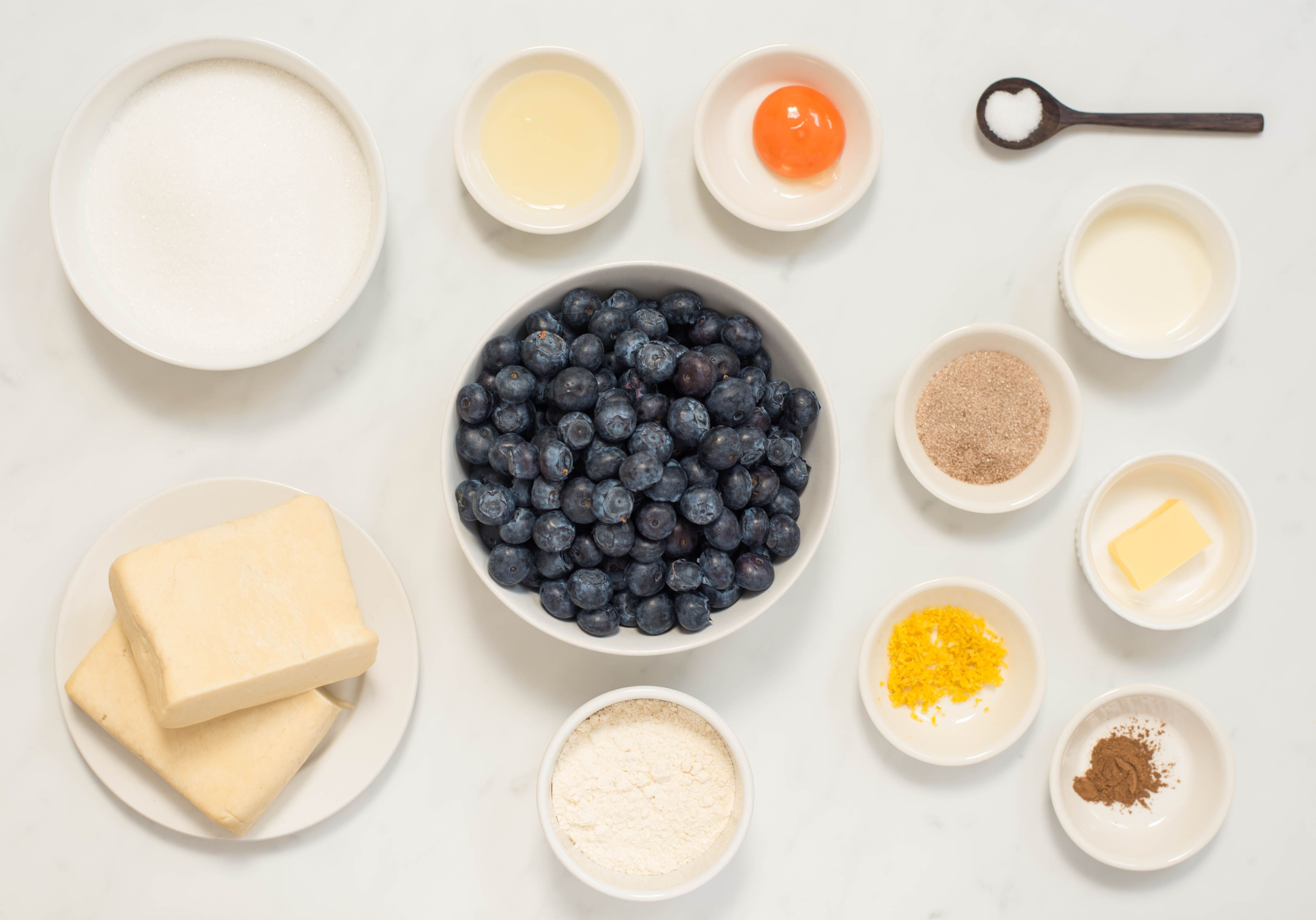 Ingredients for double crust blueberry pie