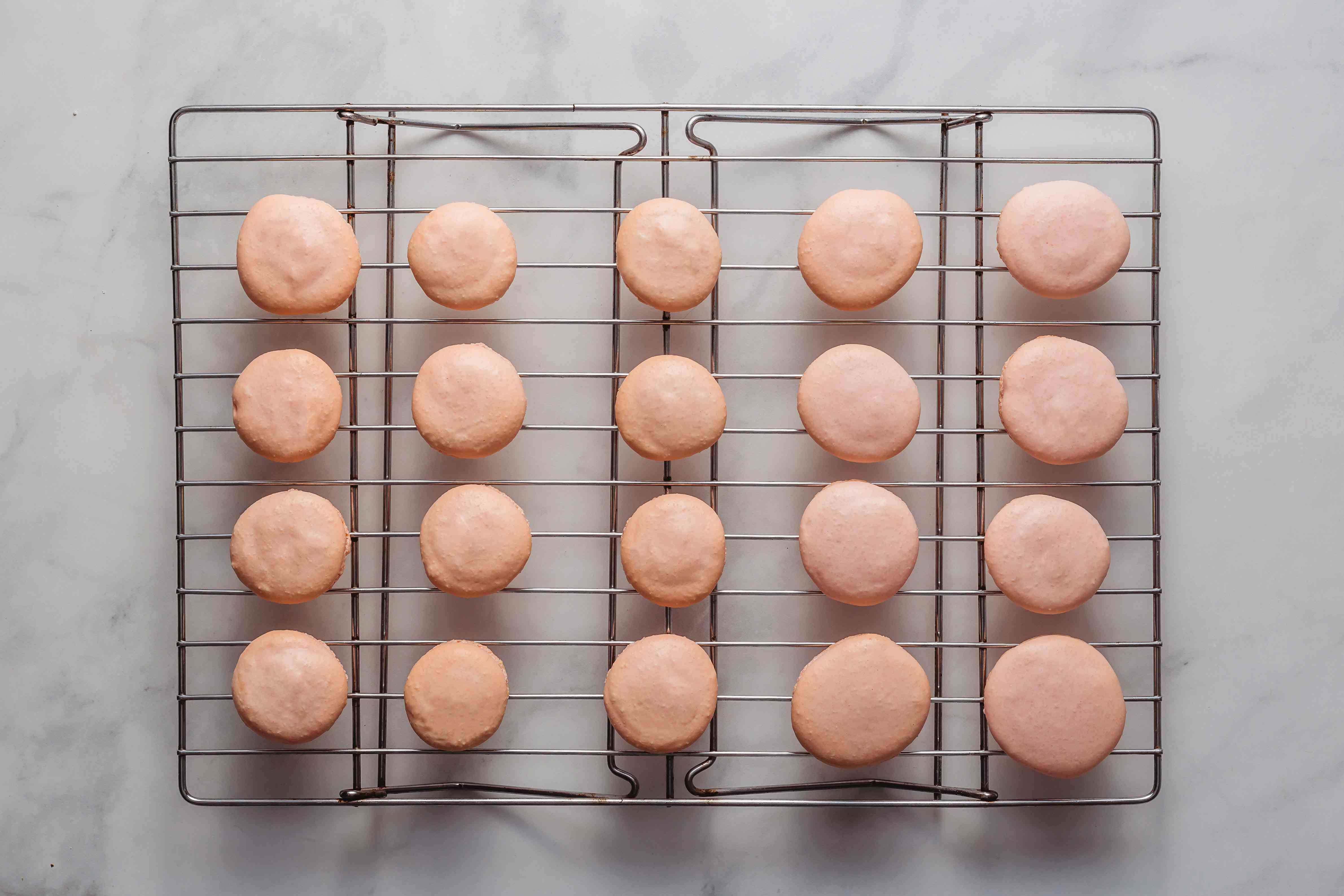 macarons on a cooling rack