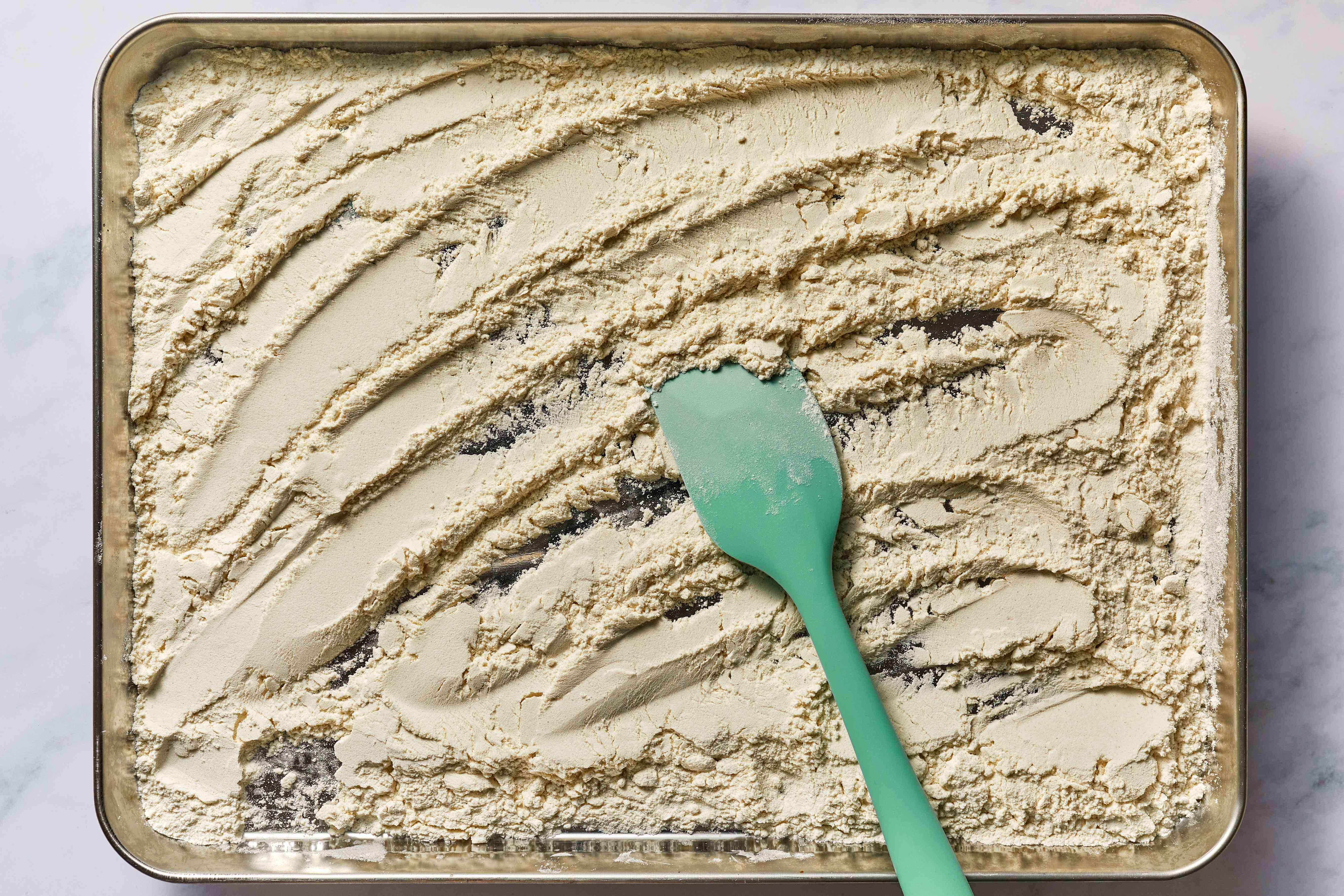 flour on a baking sheet