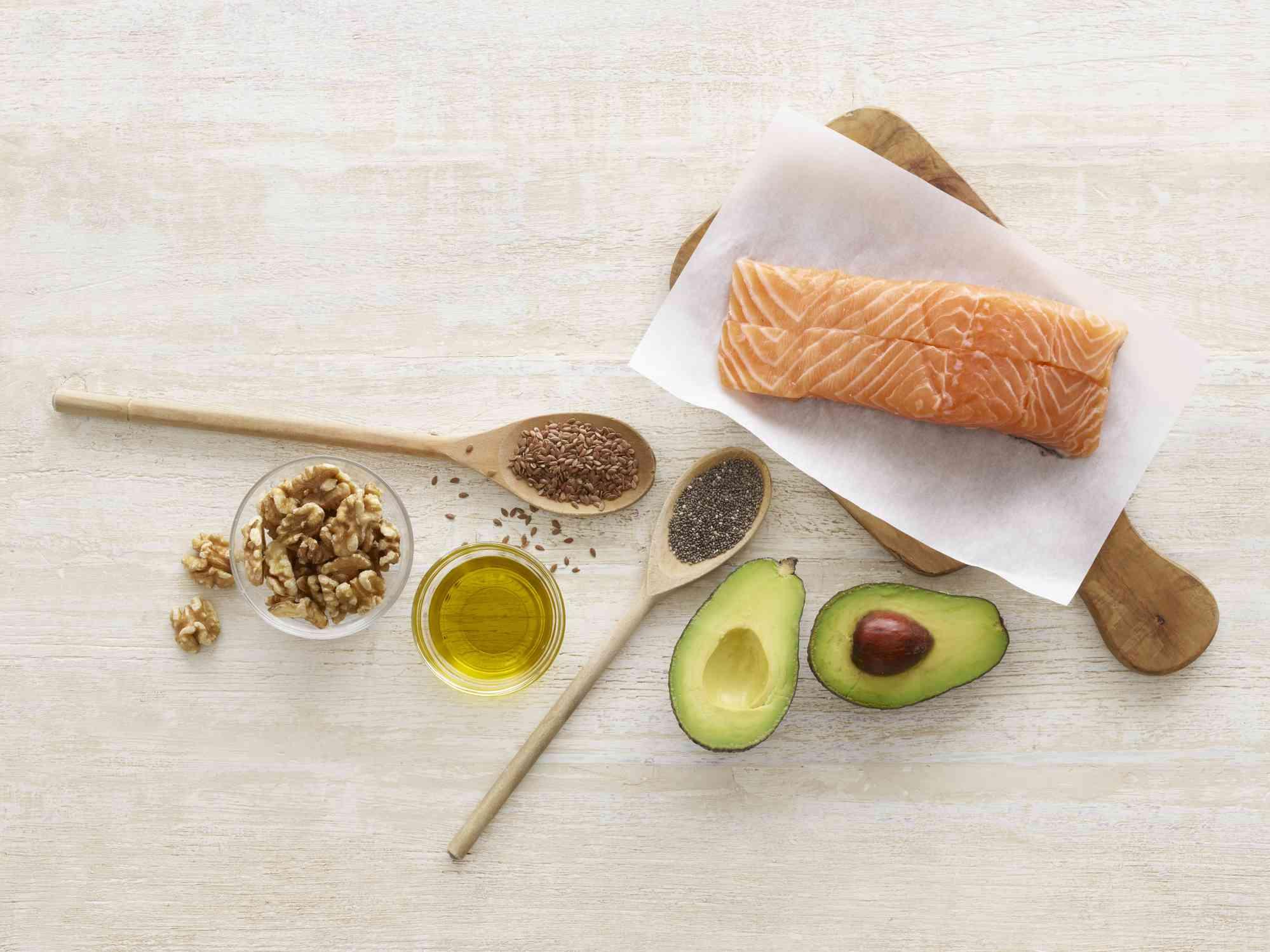 Walnut oil with walnuts, salmon, and avocado