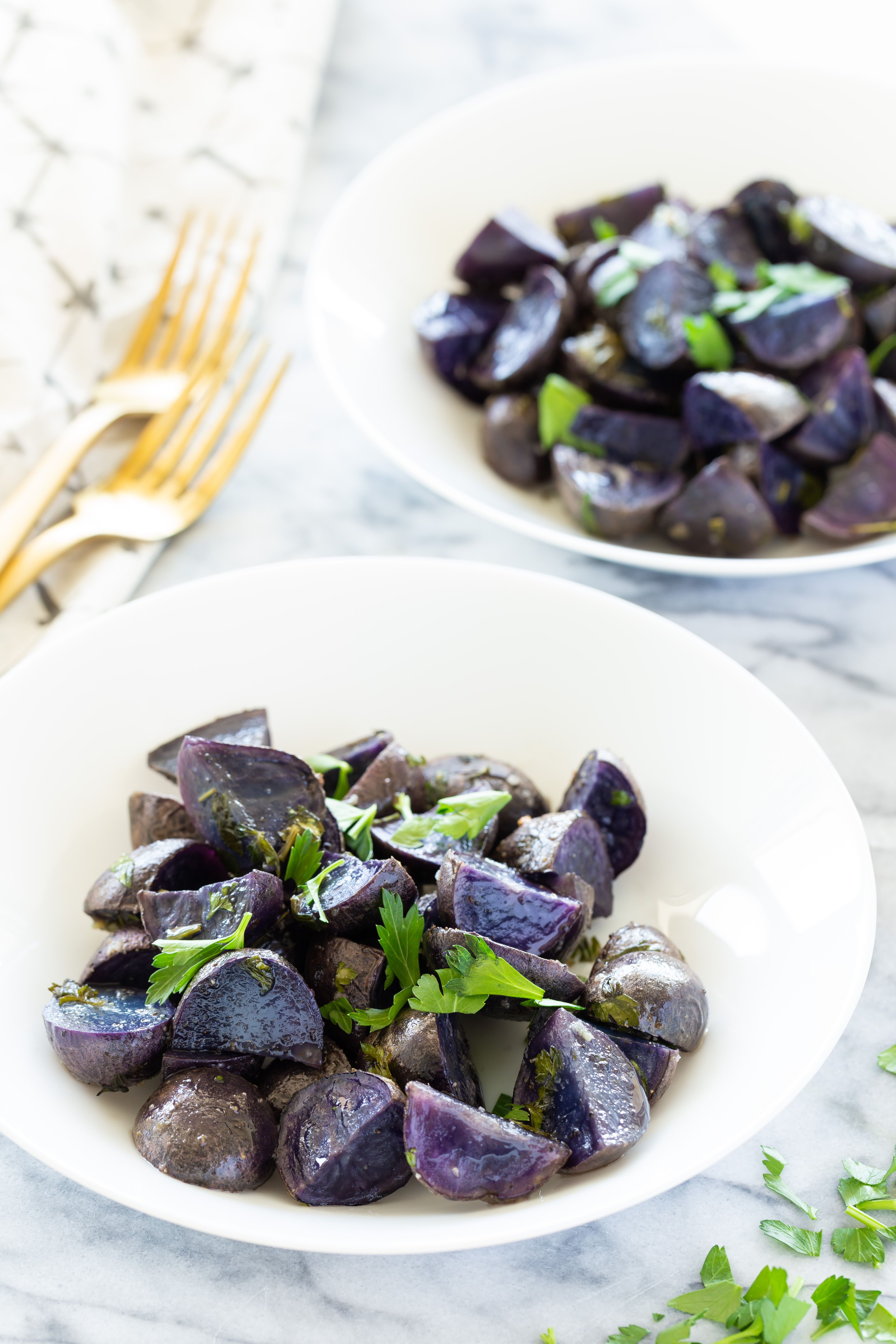 Roasted Purple Potatoes With Garlic and Cilantro