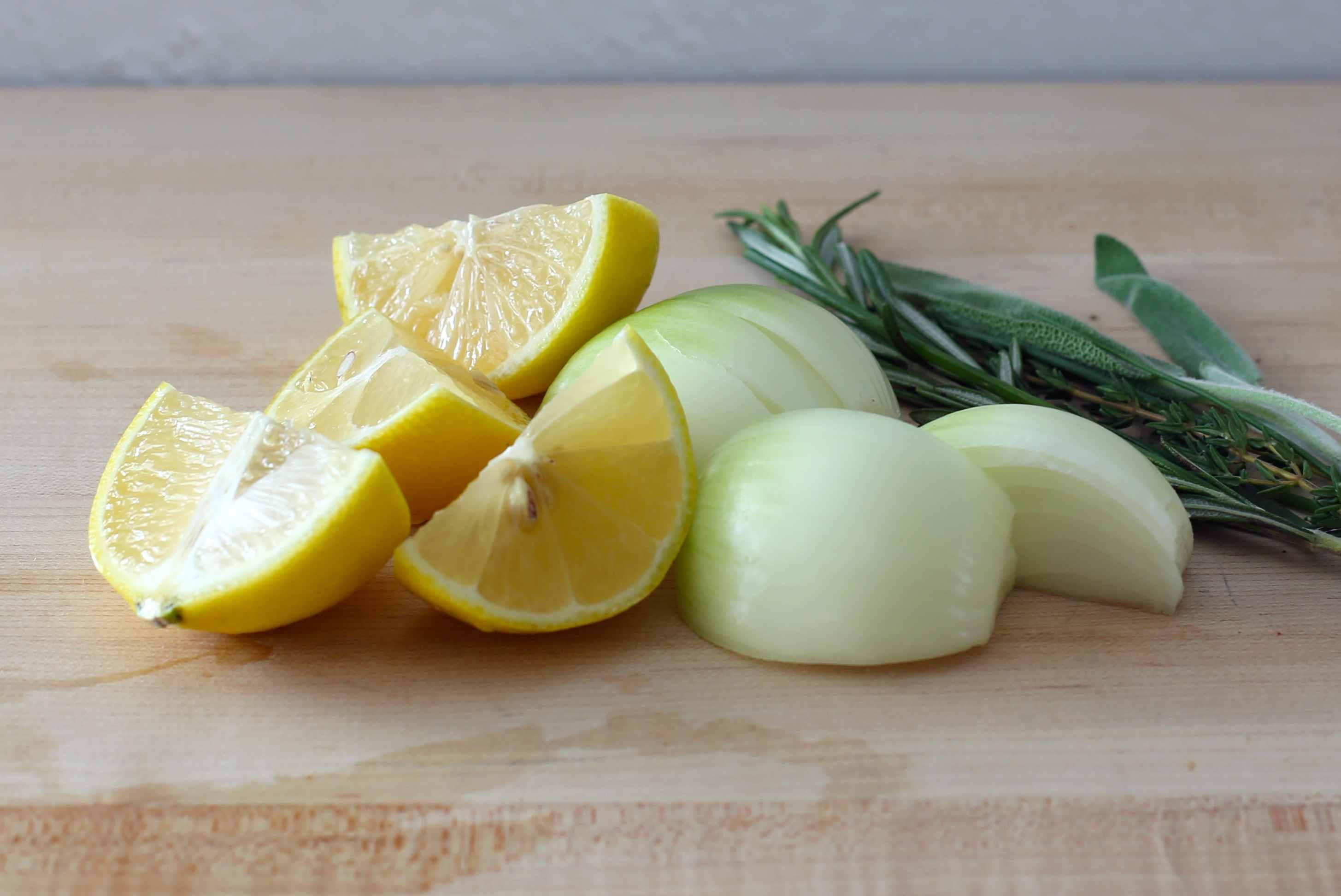 Quarter the lemon and onion