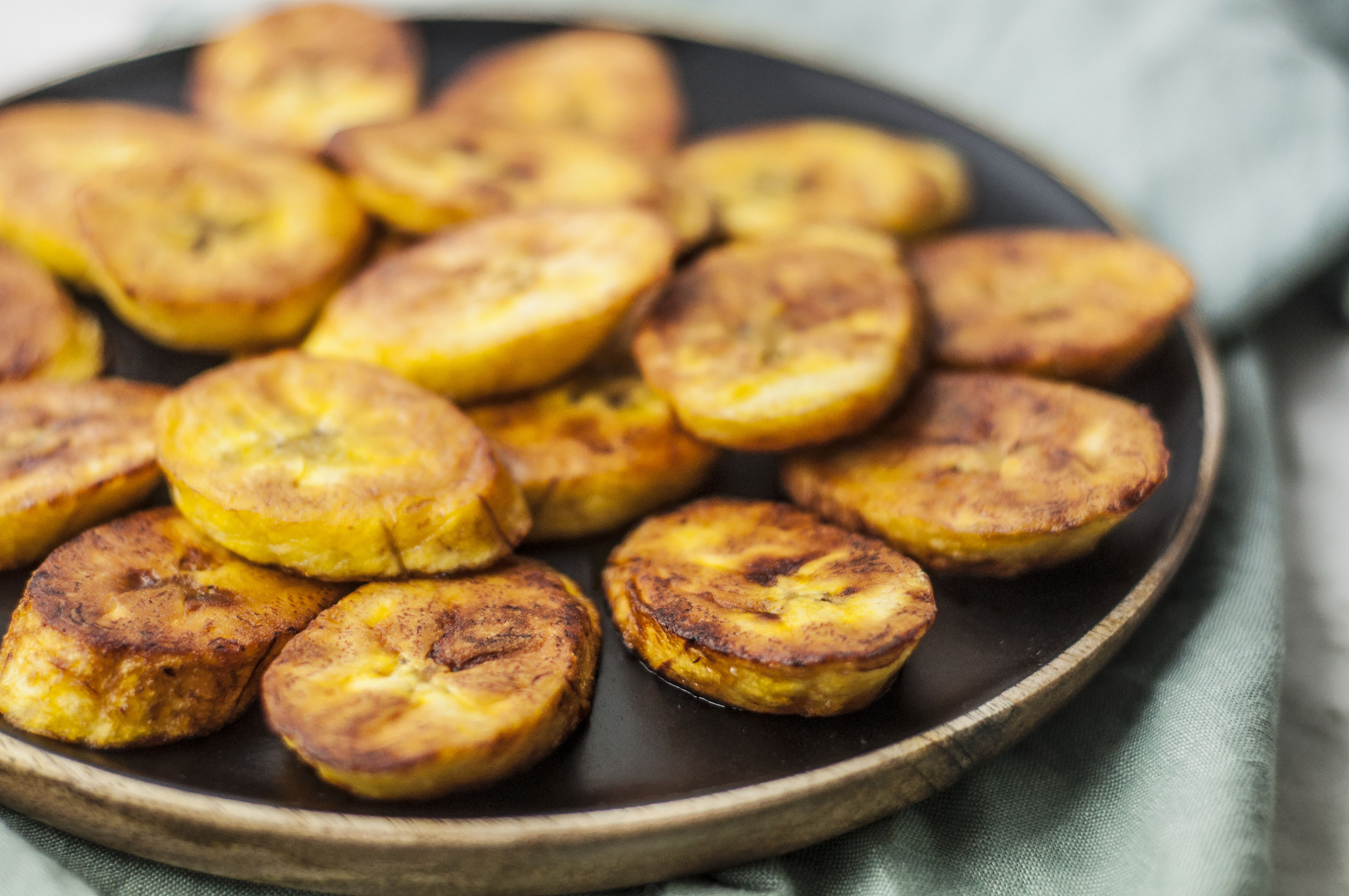 Close-up of fried ripe plantains on a plate