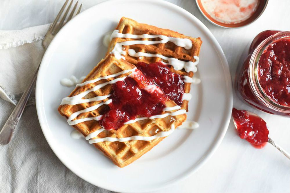 Gluten-Free Buckwheat Waffles with Strawberry Compote