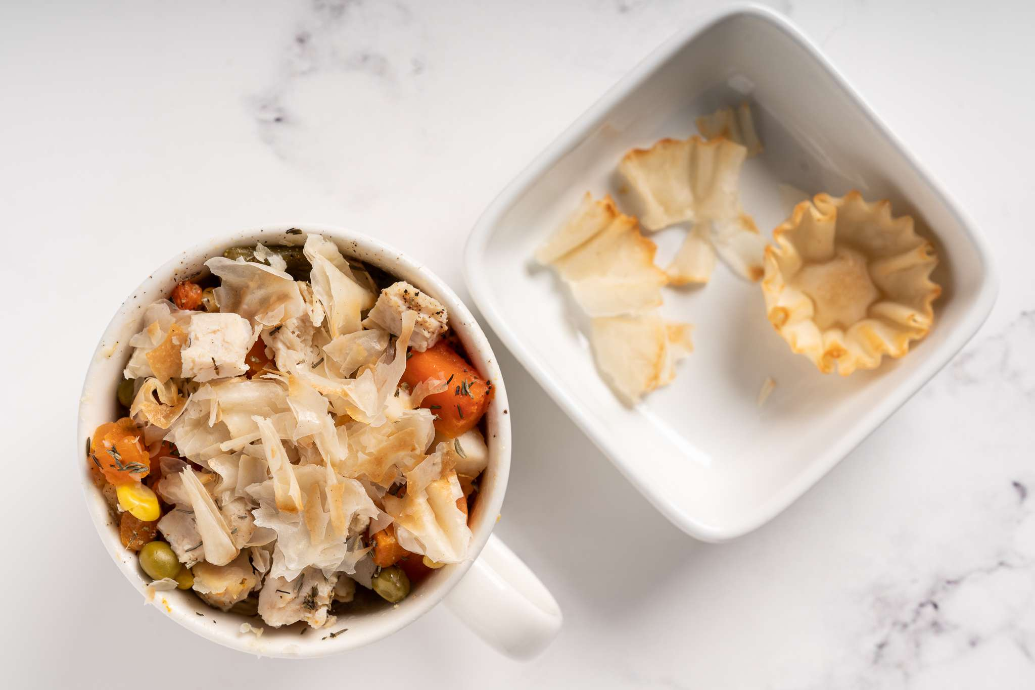 Chicken Pot Pie in a Mug topped with phyllo