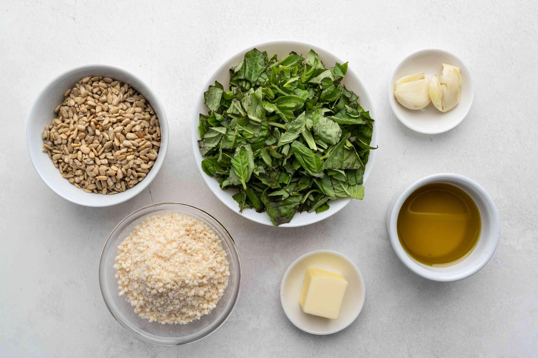 Basil Sunflower Seed Pesto ingredients
