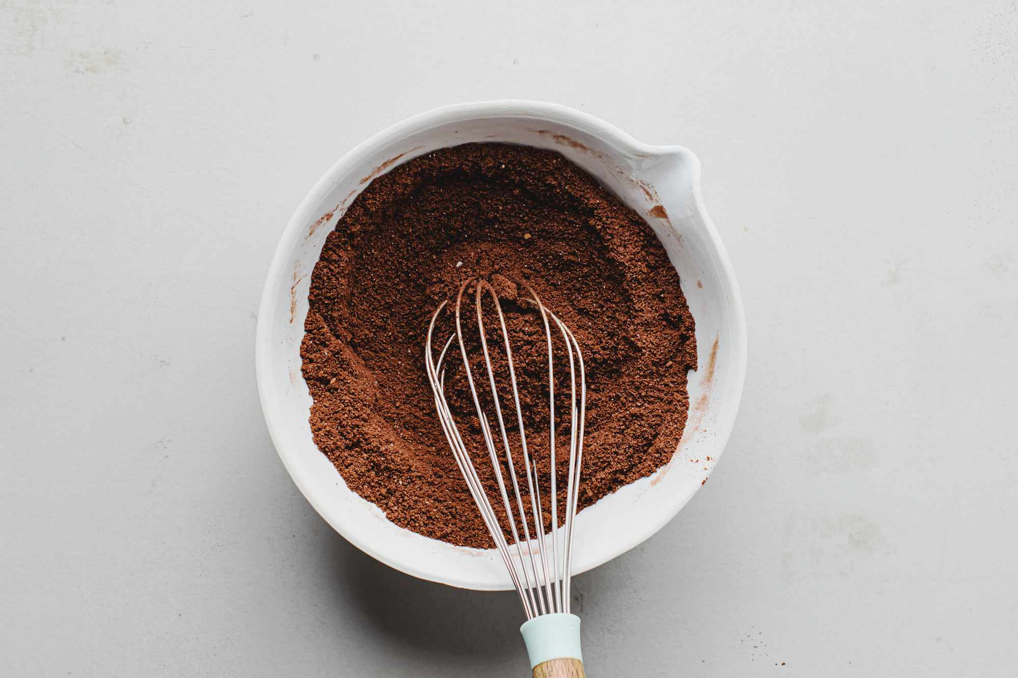 Whisking cocoa powder and other dry ingredients