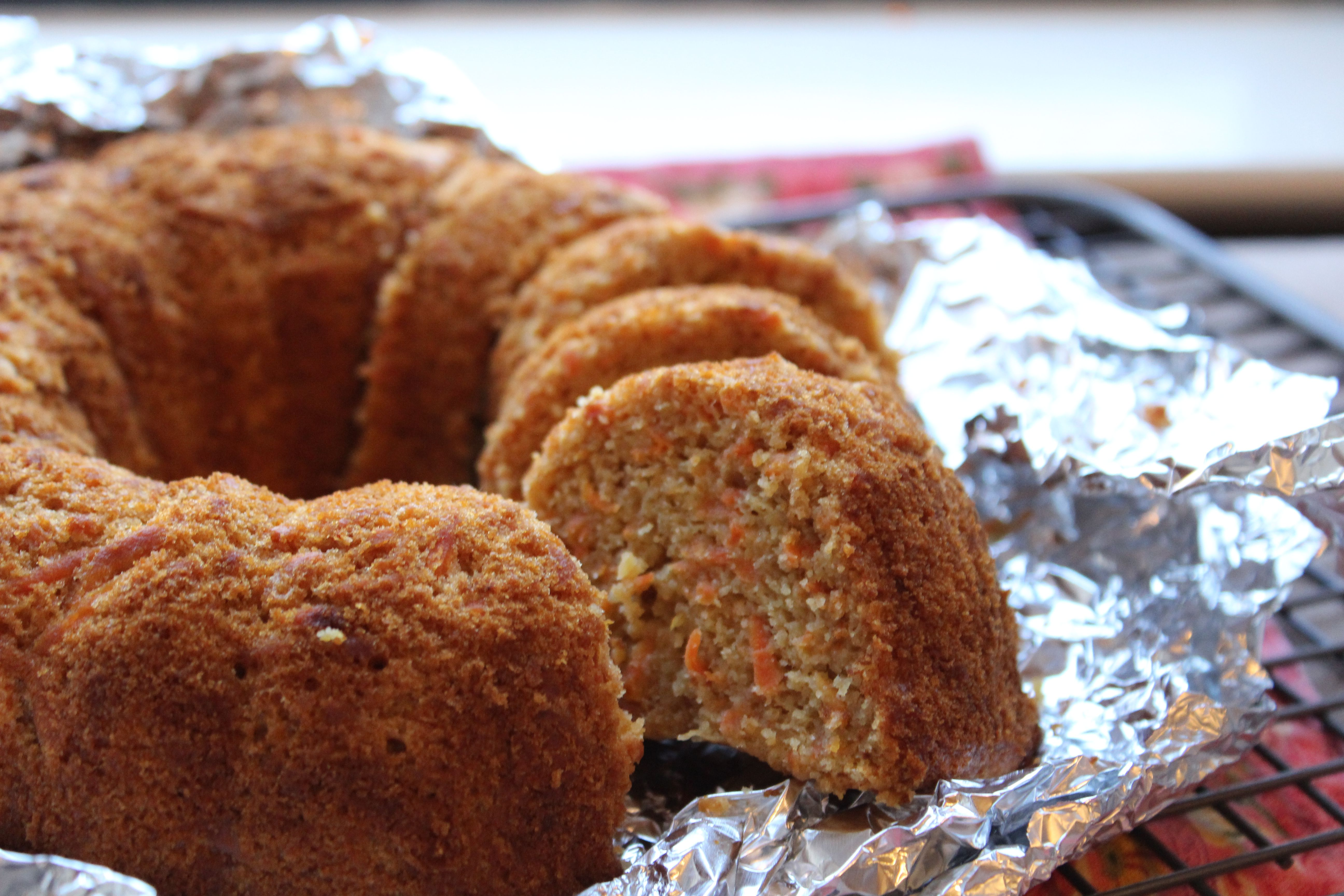 Carrot kugel made in a Bundt pan without noodles