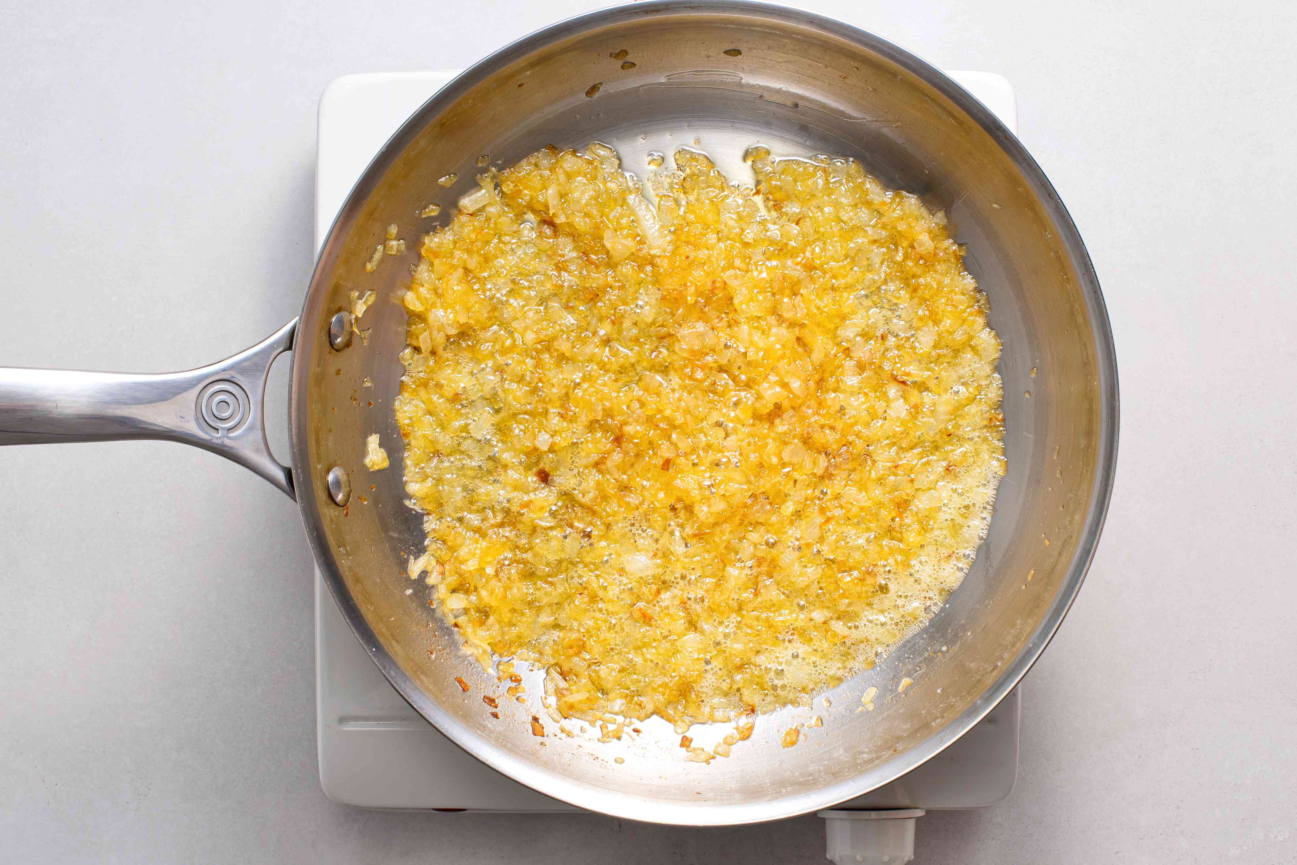 onions and garlic in a pan