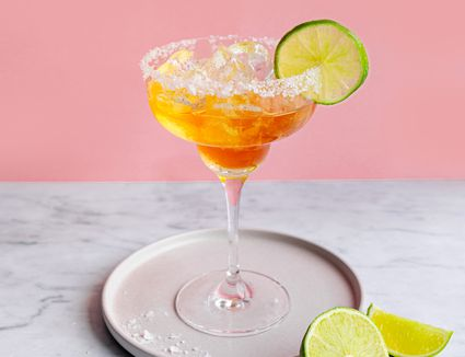 Cadillac margarita on the rocks with salt and a slice of lime