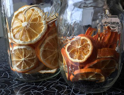 Dehydrated citrus in jars