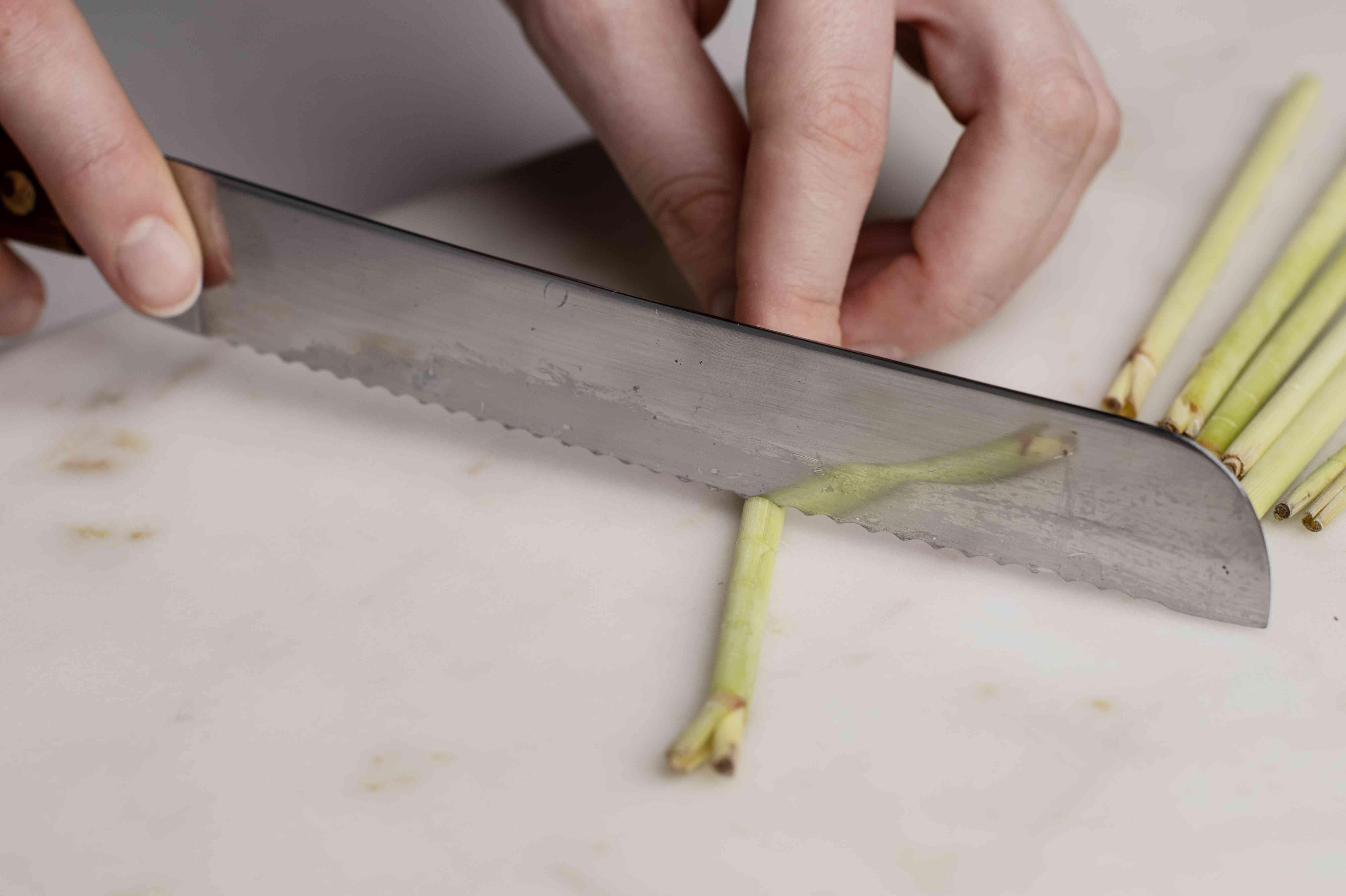 Upper stalk being cut