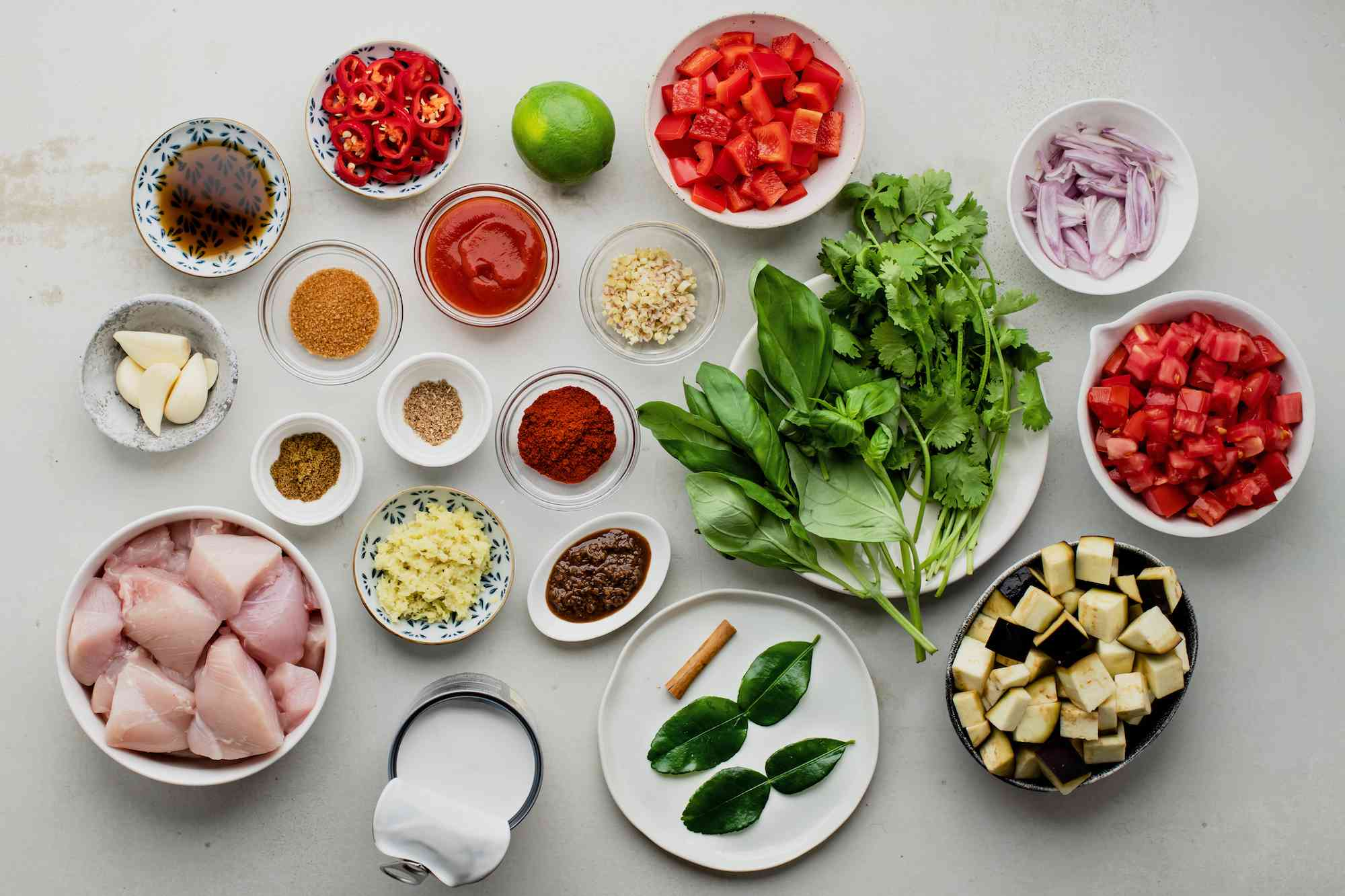 Ingredients for Thai red curry with chicken