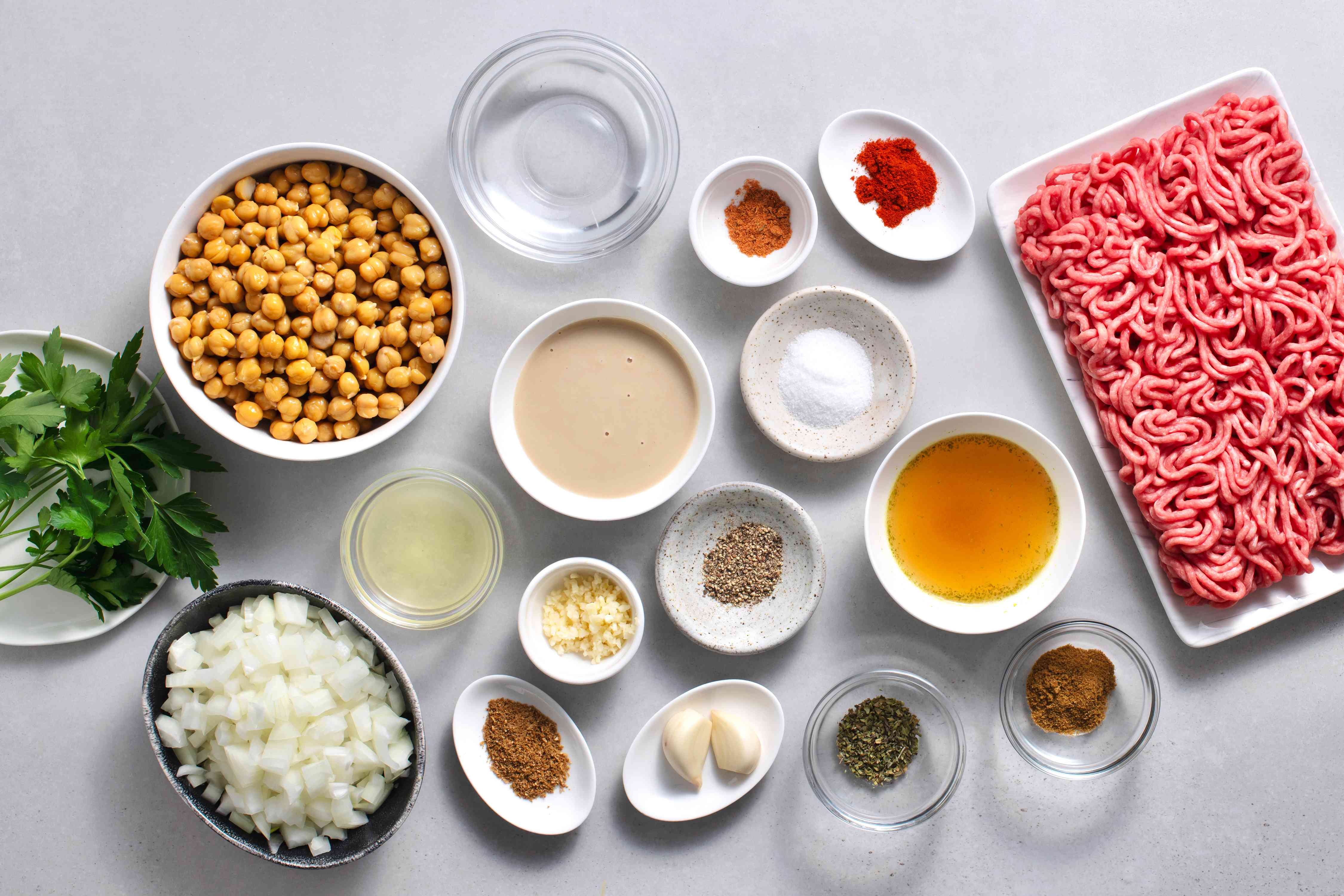 Spiced Beef on Hummus ingredients