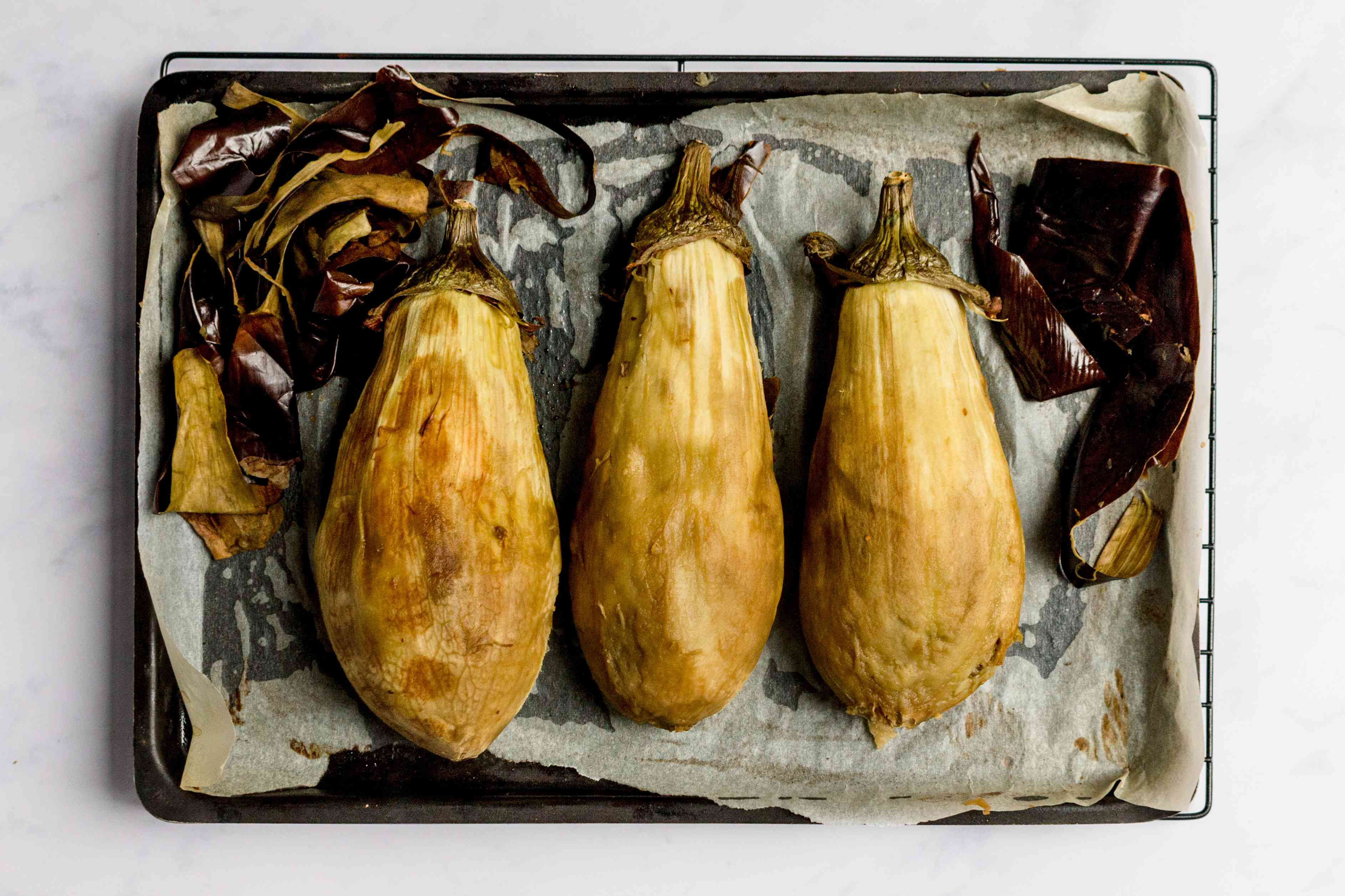 remove the skin from the baked eggplant