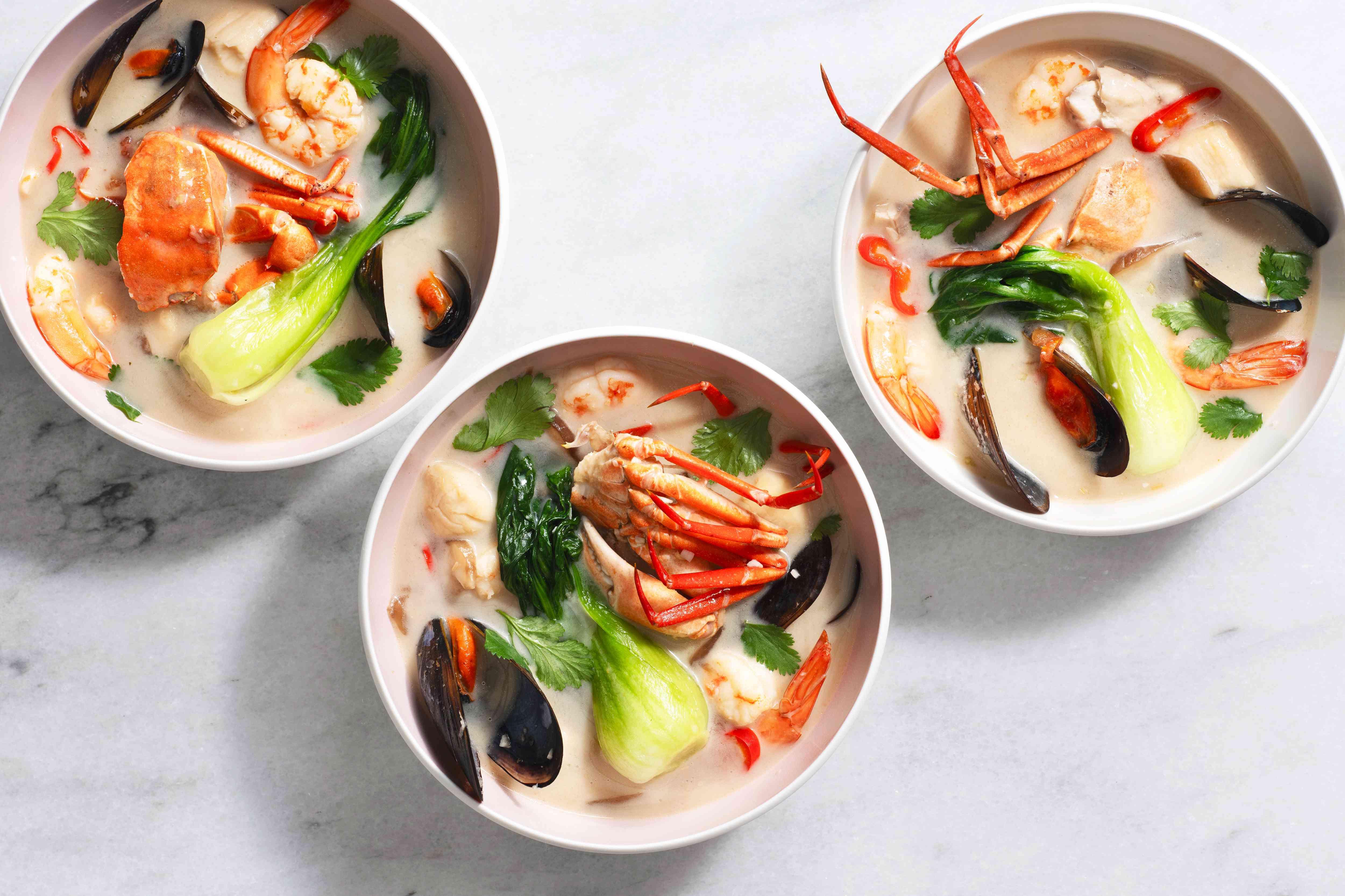 Three bowls of Tom Yum Talay