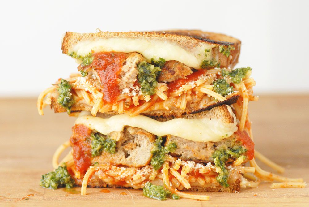 Meatball smashed grilled cheese