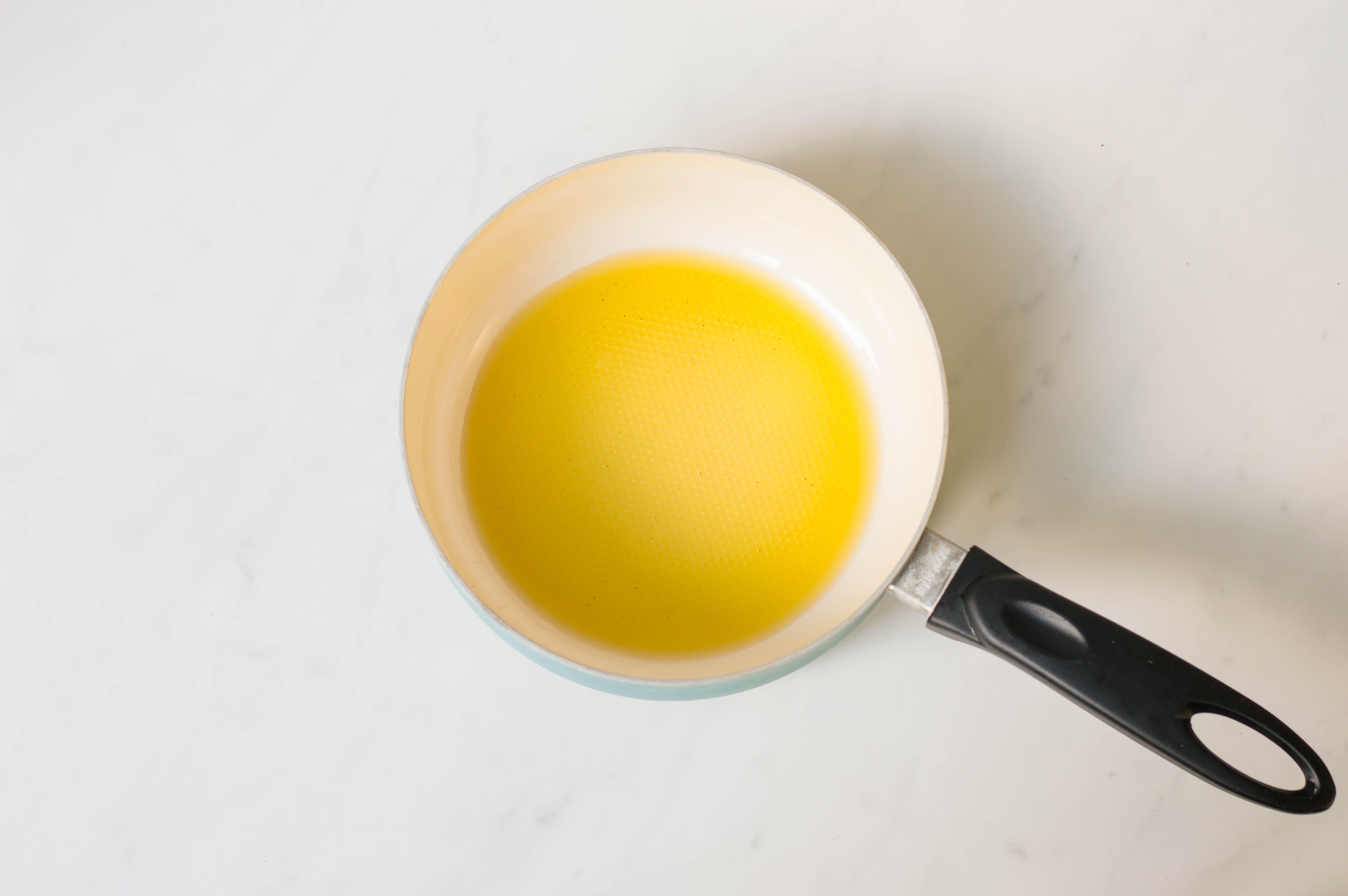 Vegetable oil in saucepan