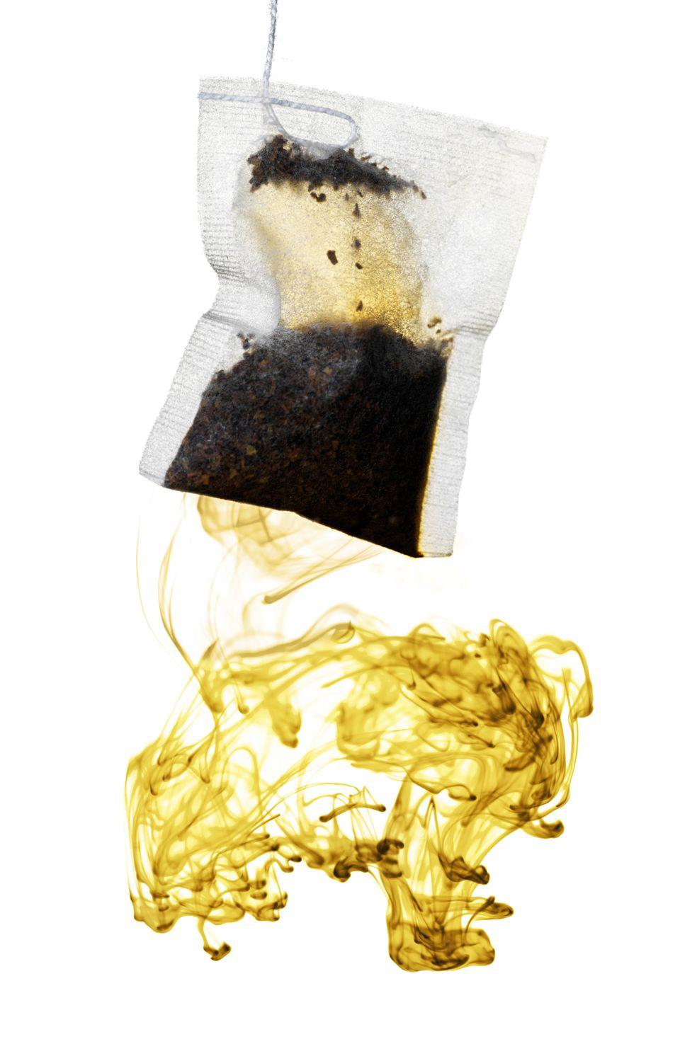 Organic orange pekoe teabag, with swirls