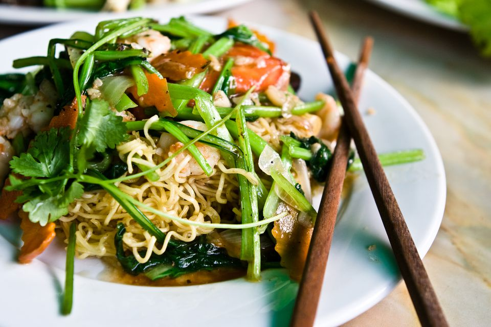 Plate of stir-fried spinach with chopsticks