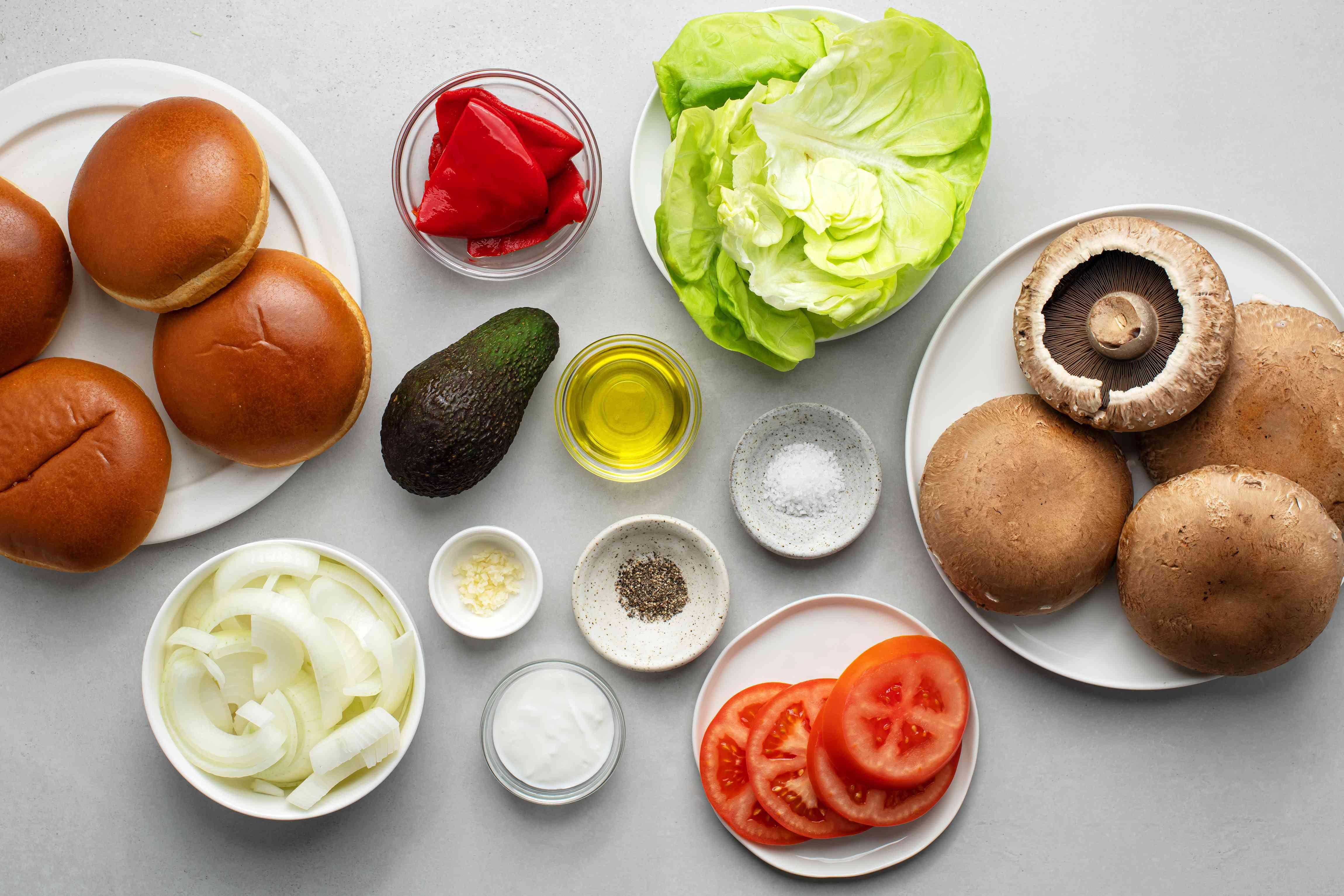 Vegetarian Portobello Mushroom and Avocado Burger ingredients