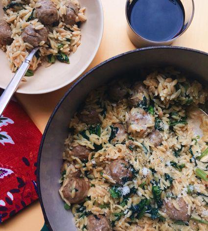 Meatball orzo casserole