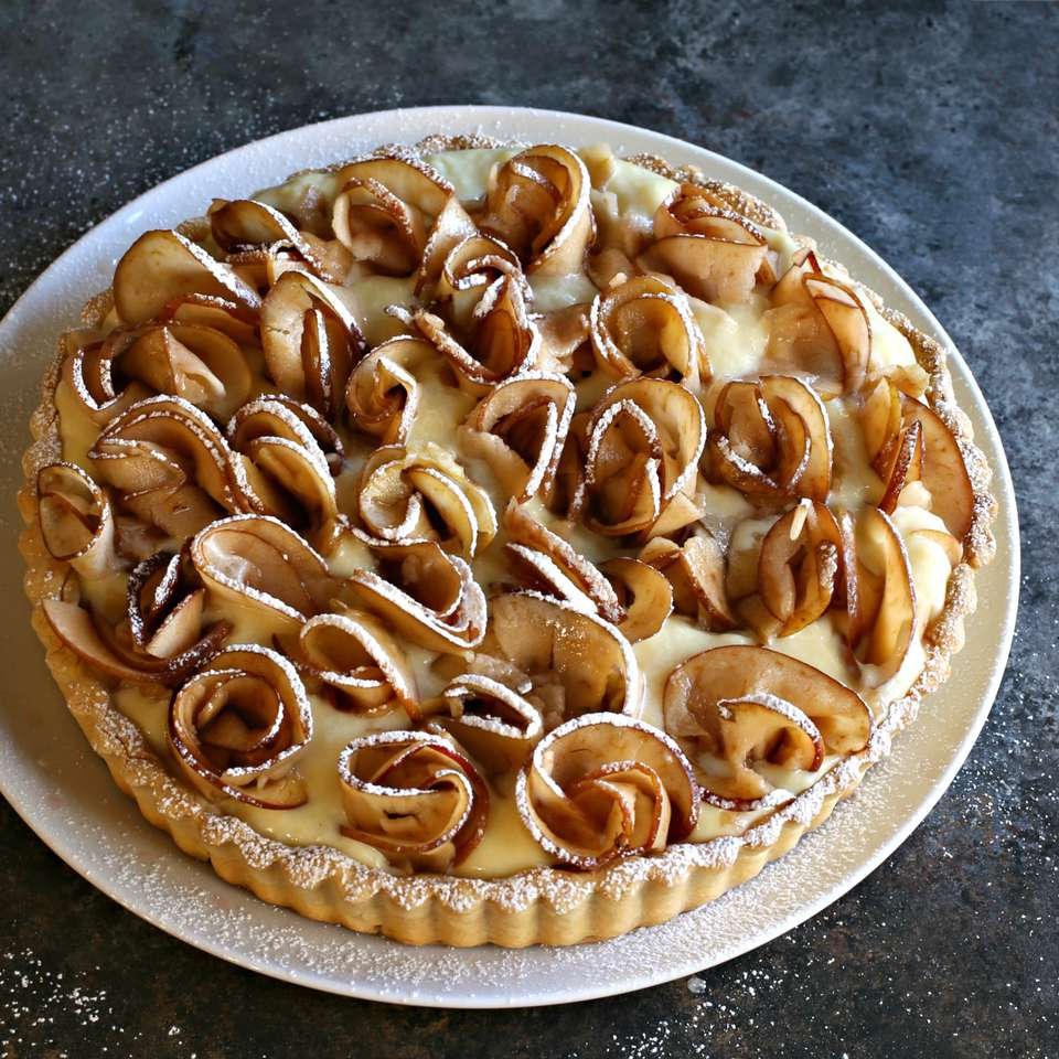 Tahini Custard Tart with Apple Rosettes