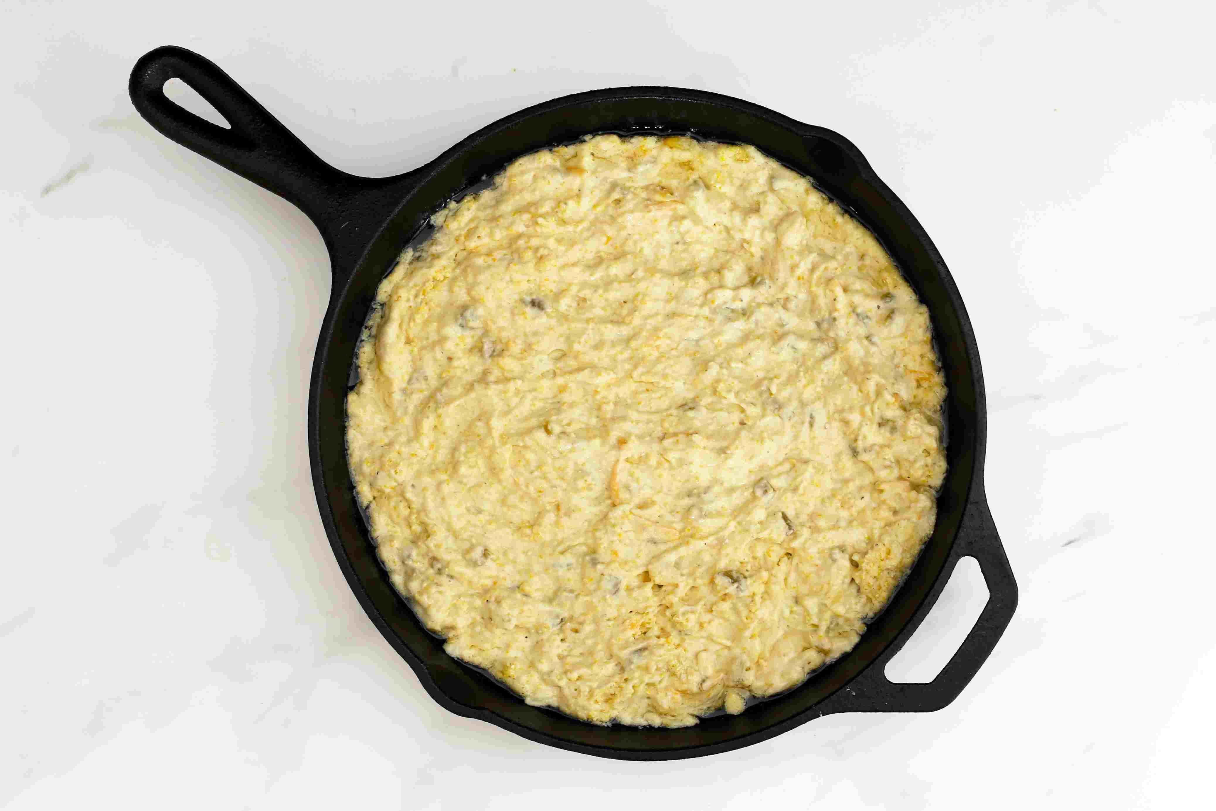 Mexican cornbread ready to go into the oven.