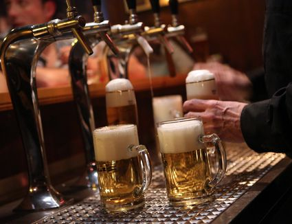 Beer is poured at a bar in Berlin