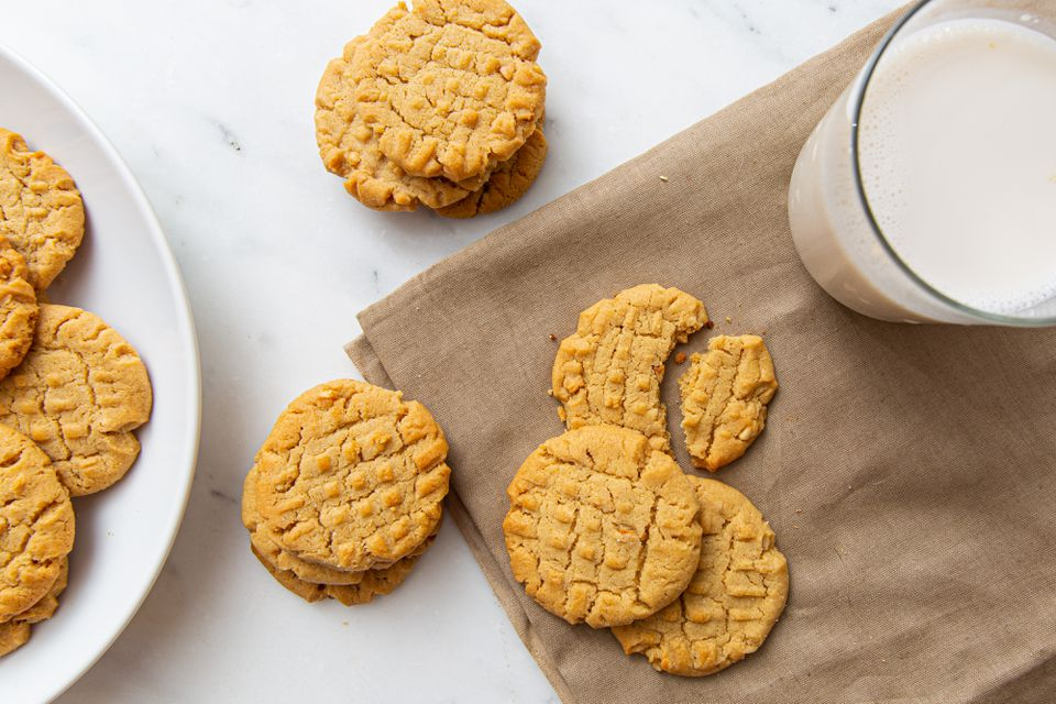 Crunchy Peanut Butter Cookies, glass of milk
