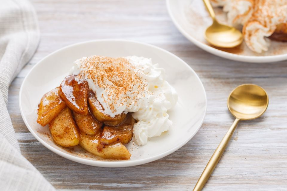 fried apples with whipped cream