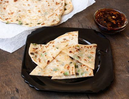 scallion pancakes and dipping sauce