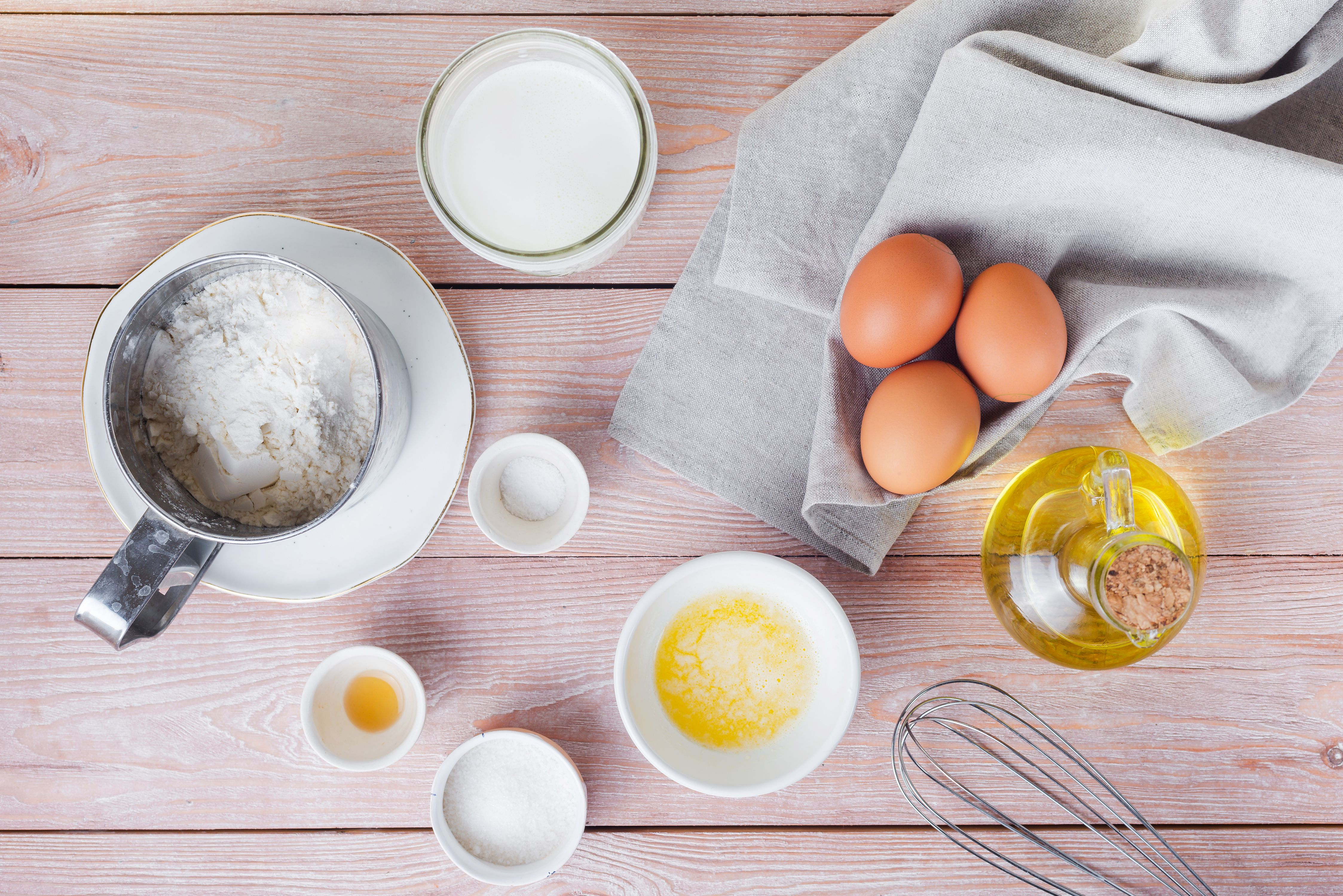 Ingredients for homemade crepe pareve