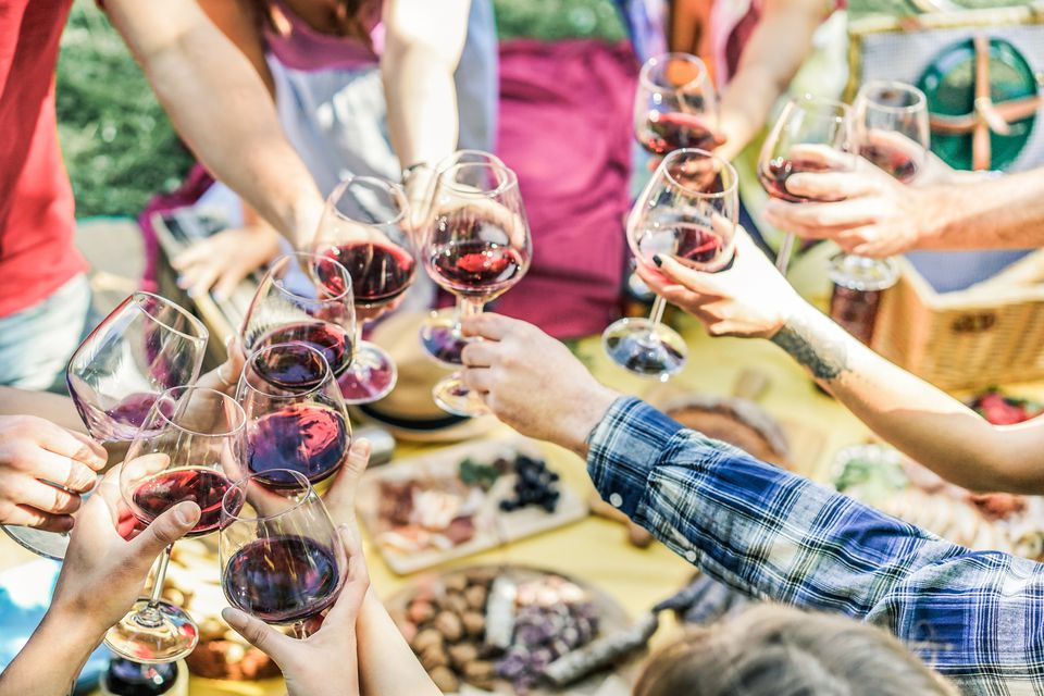 Friends Toasting Wineglasses