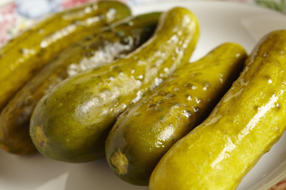 Garlic dill pickles on a plate