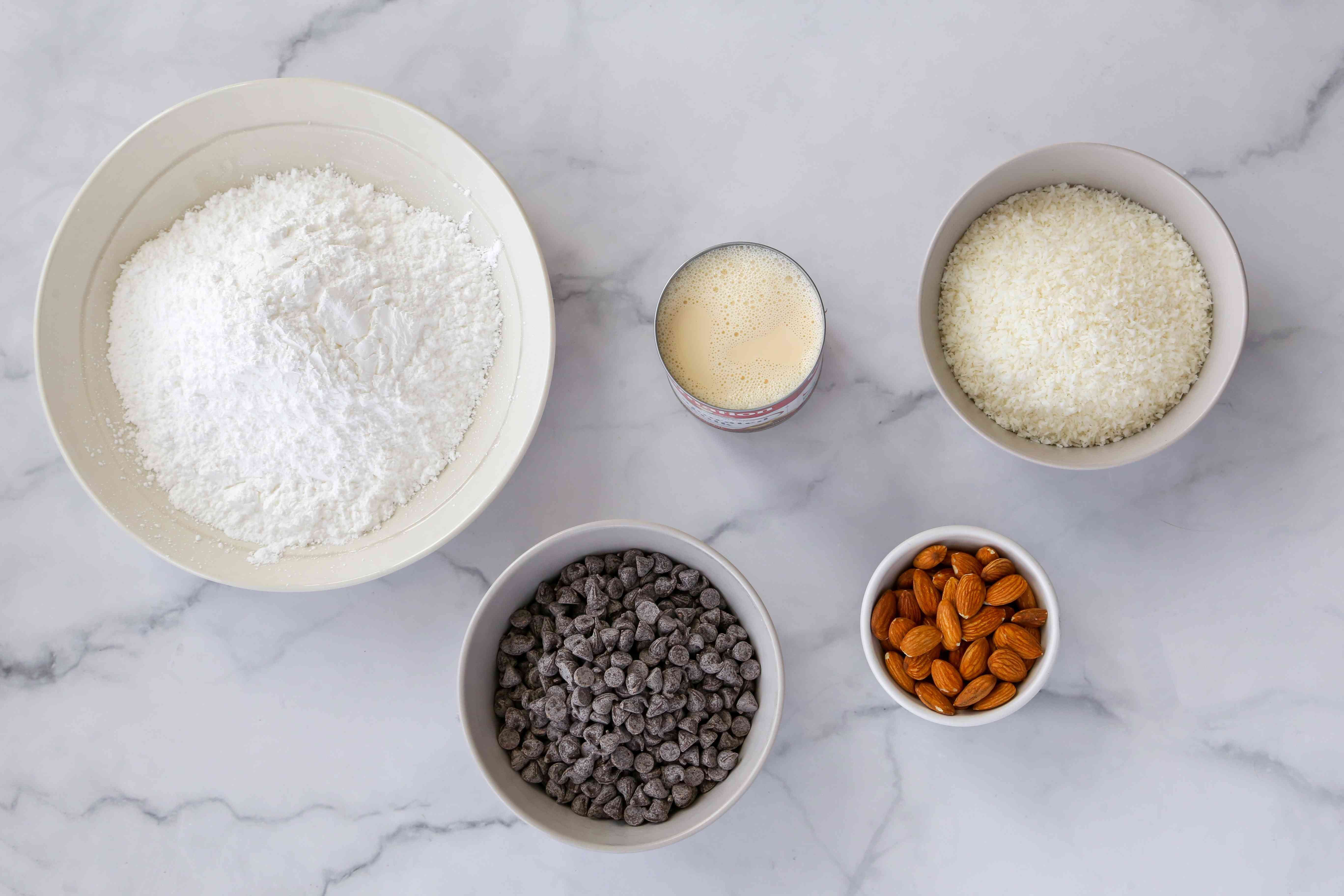 Gather the ingredients for almond joy cookies