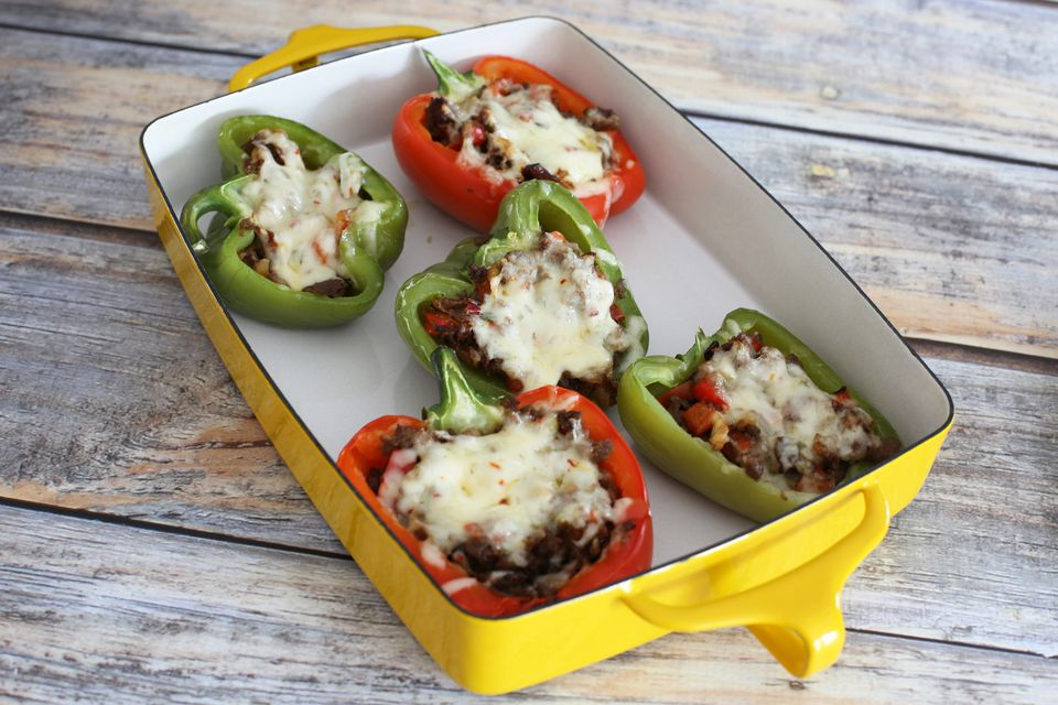 Steak-and-cheese-stuffed peppers