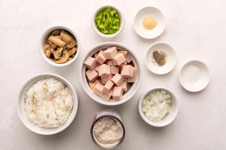 Ingredients for turkey rice casserole
