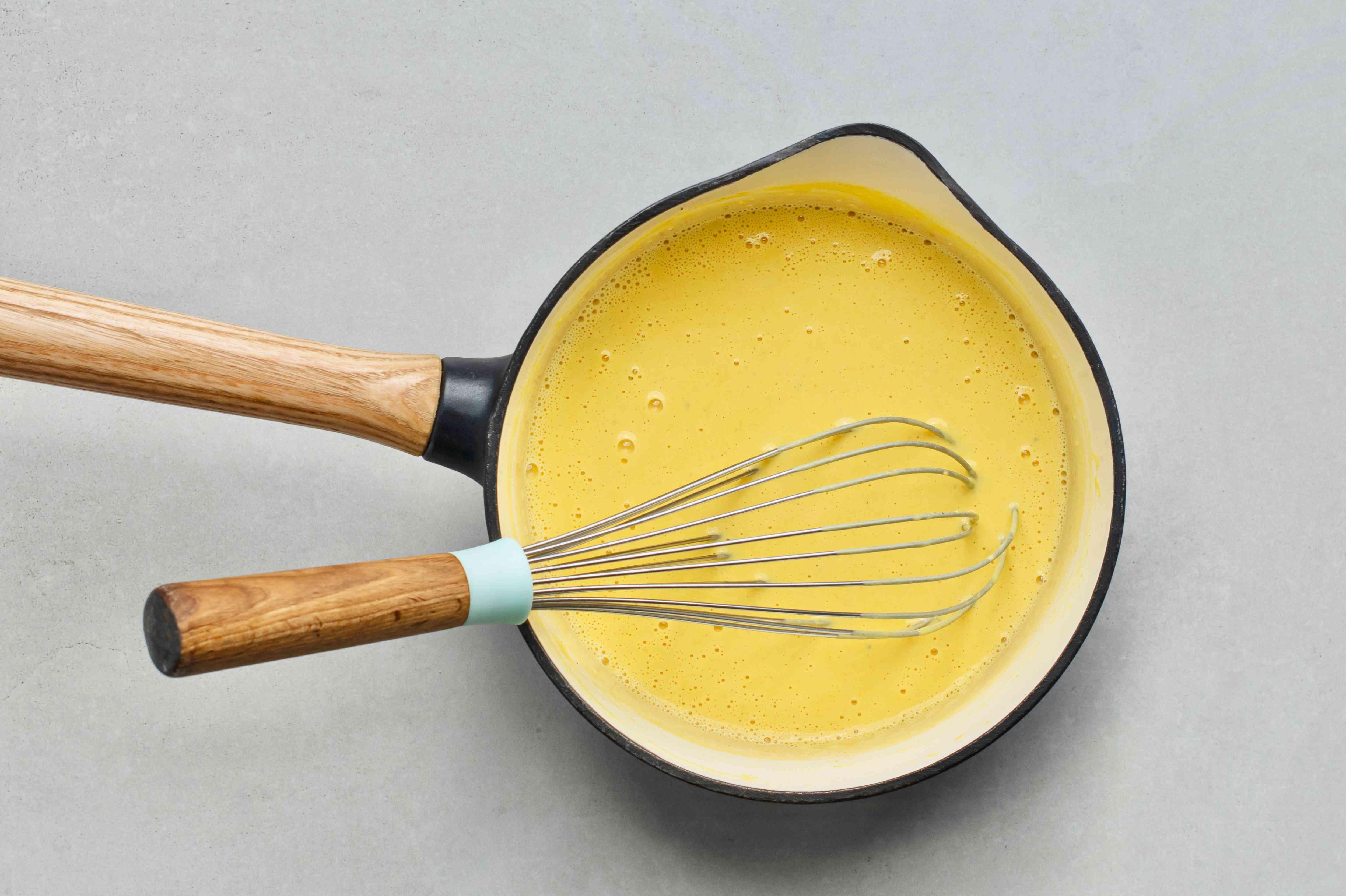 cheese sauce in a saucepan