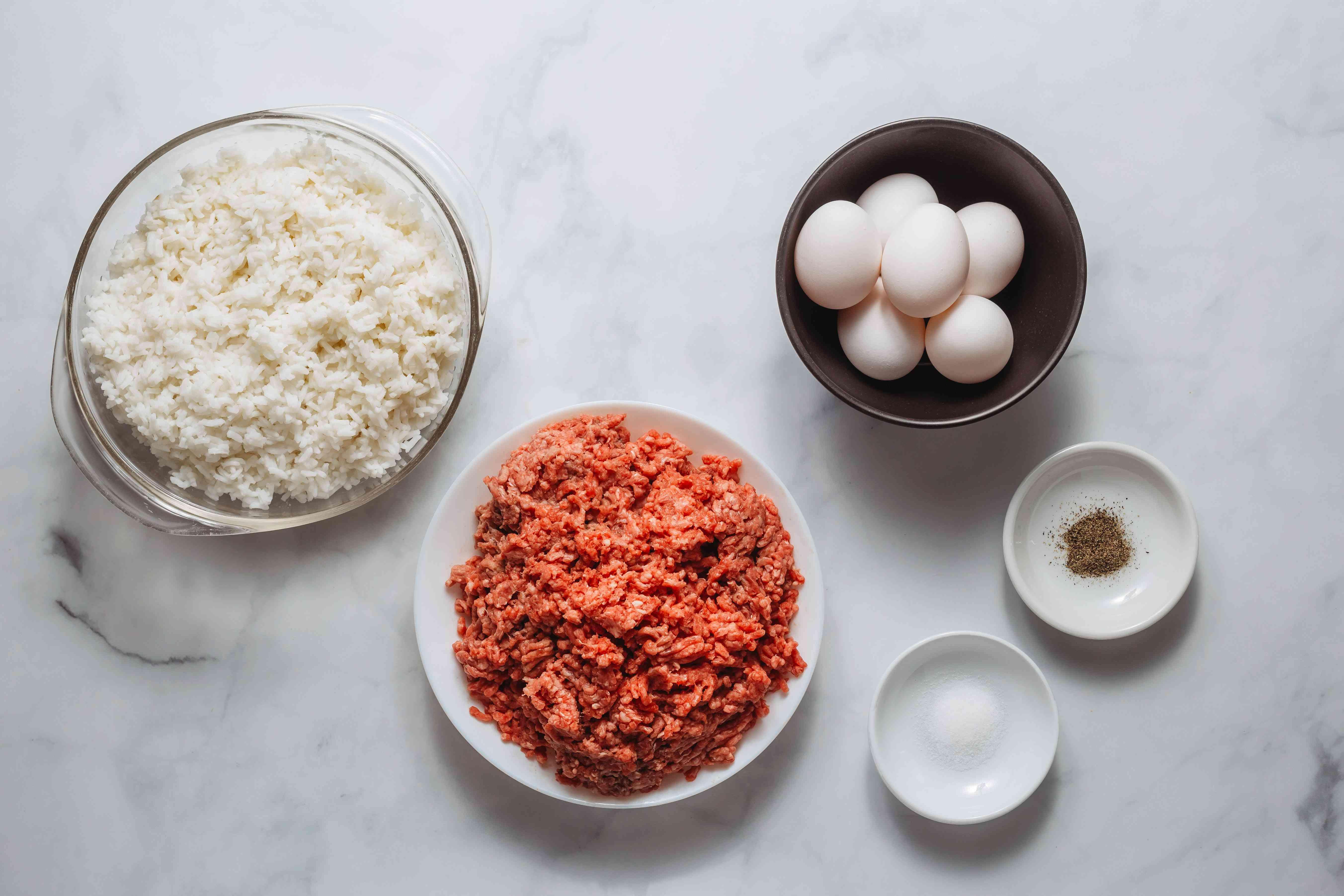 Ingredients for Loco moco burger