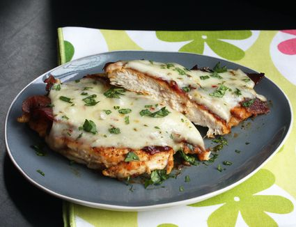 Chicken with bacon and pepper jack cheese on plate