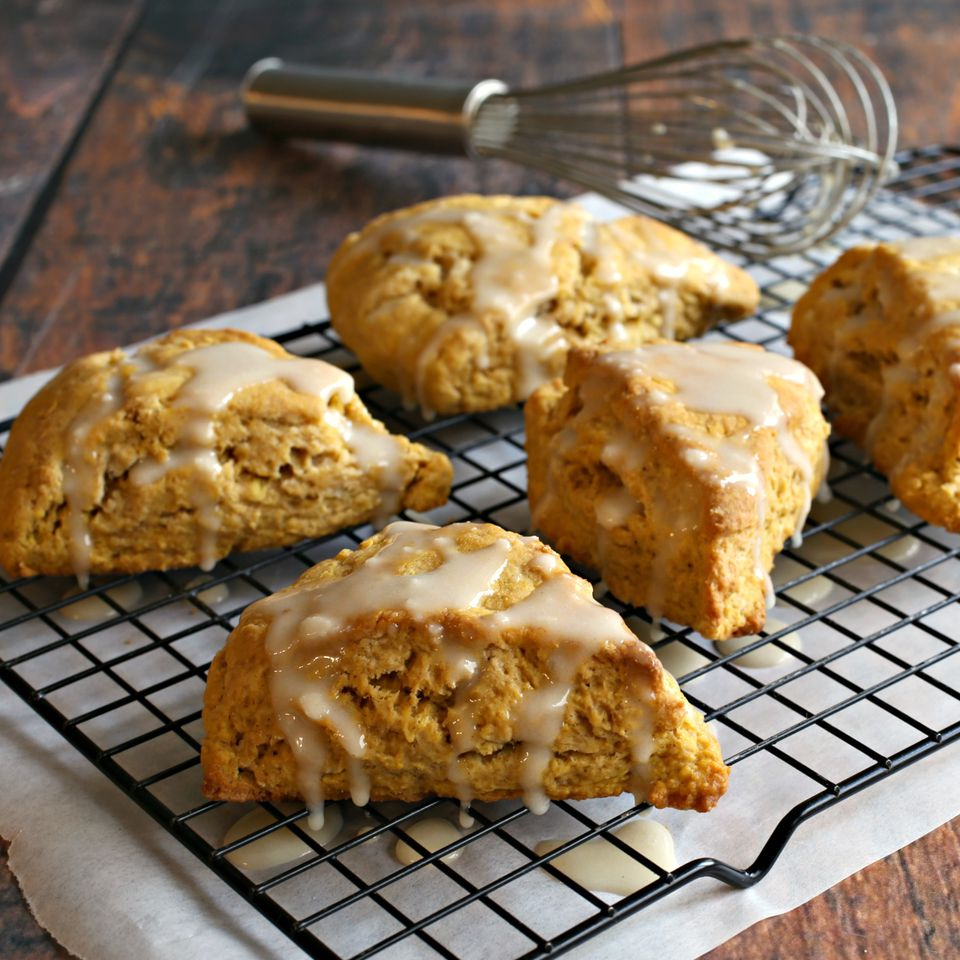 Pumpkin Ginger Scones with Sweet Tahini Glaze