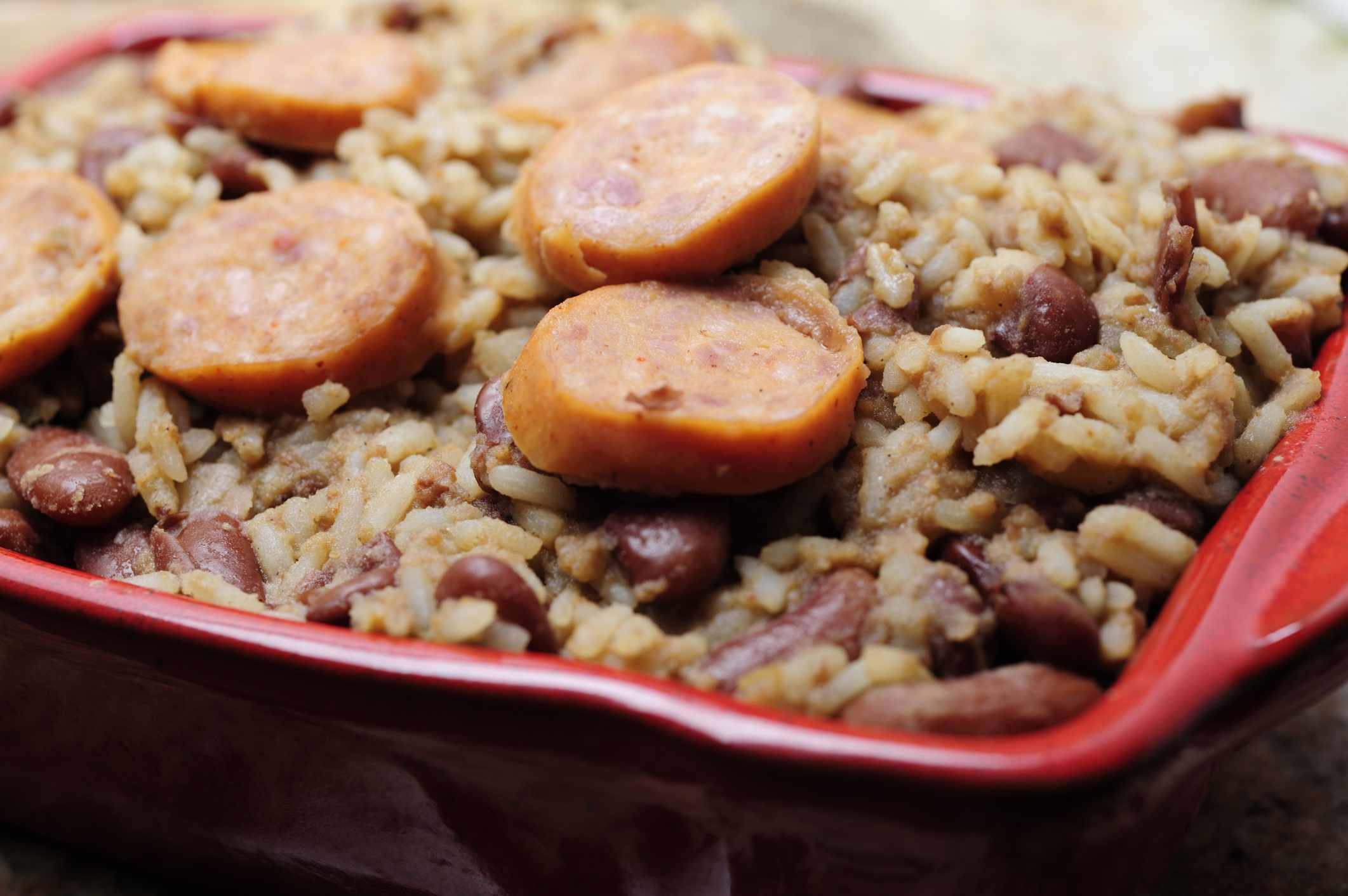Red beans, rice, and sausage