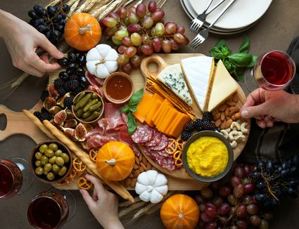 Fall party charcuterie board, view from above