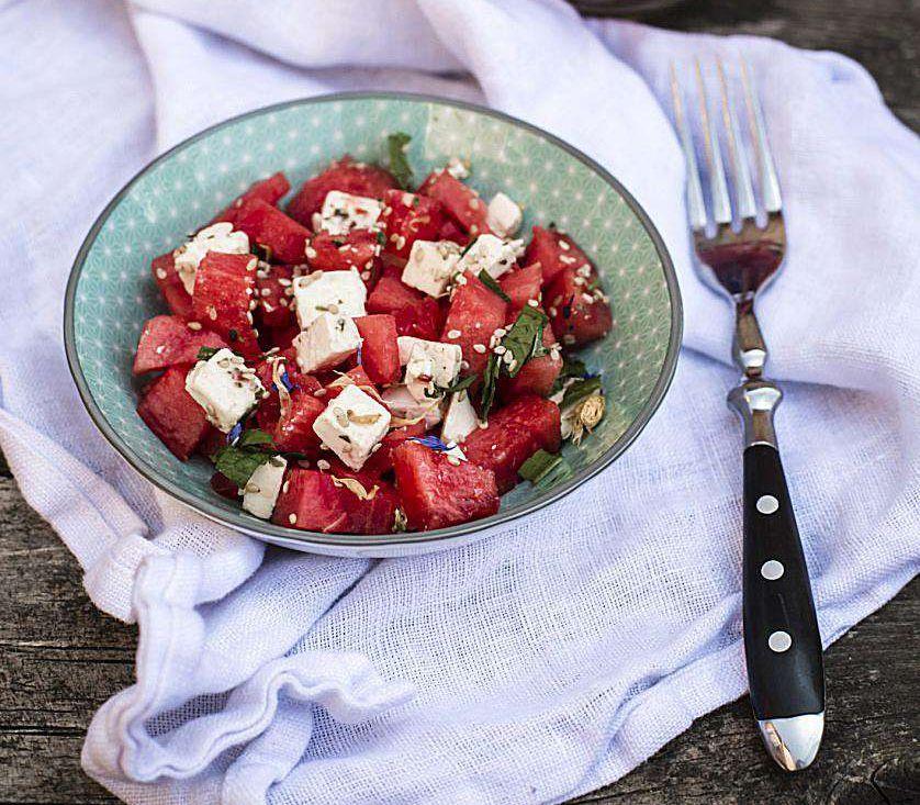 Feta, Watermelon, and Prosciutto Salad