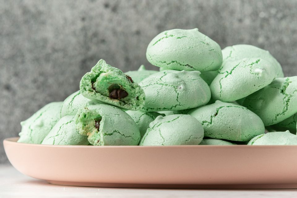 Mint Chocolate Chip Meringue Cookies