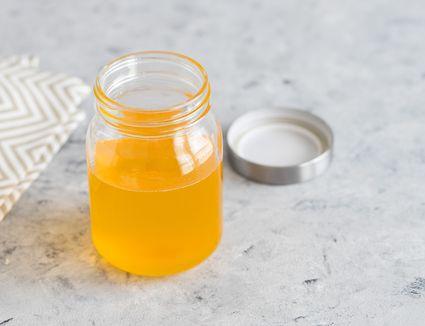 Clarified butter (ghee) in a glass jar