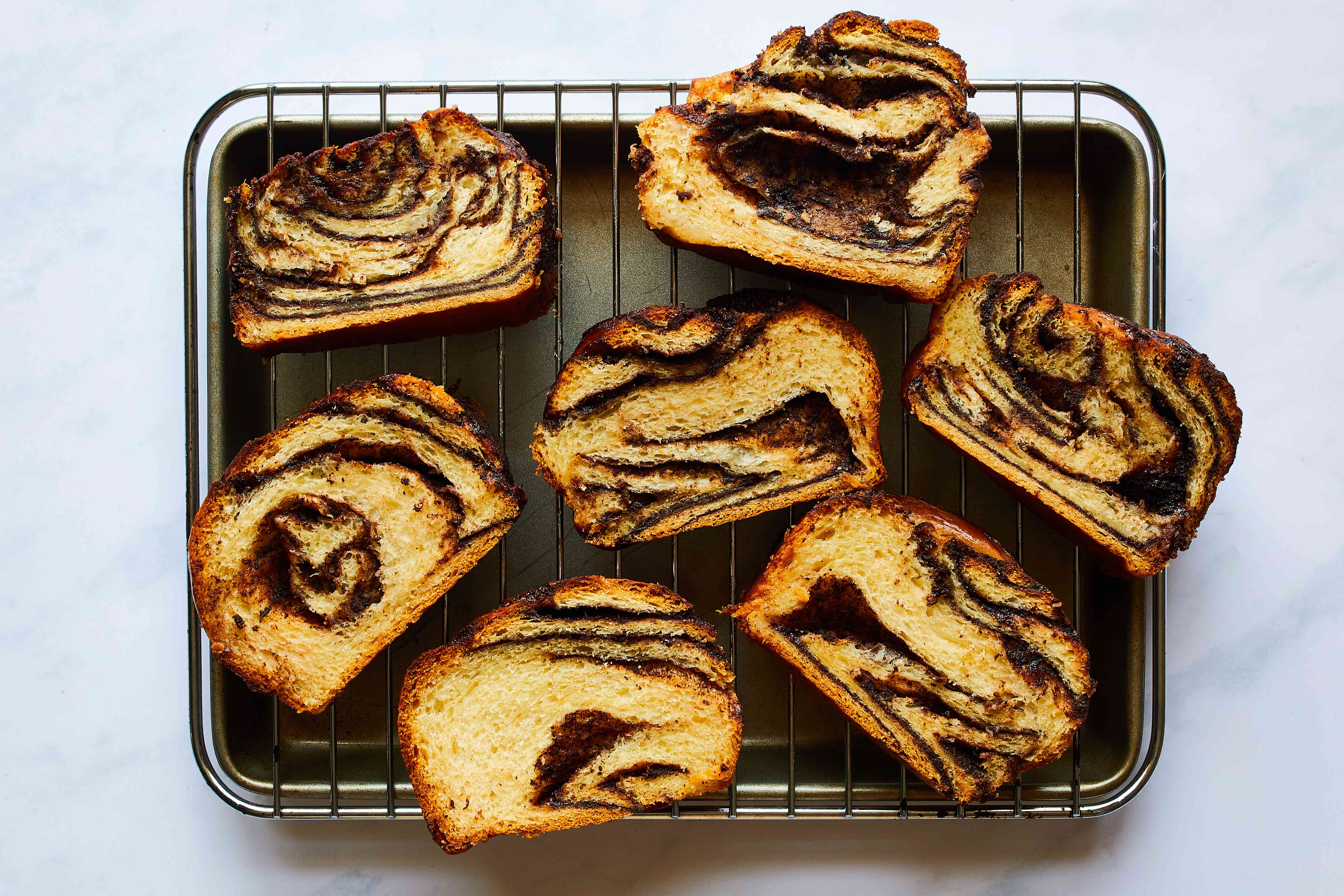 babka slices on rack to dry out